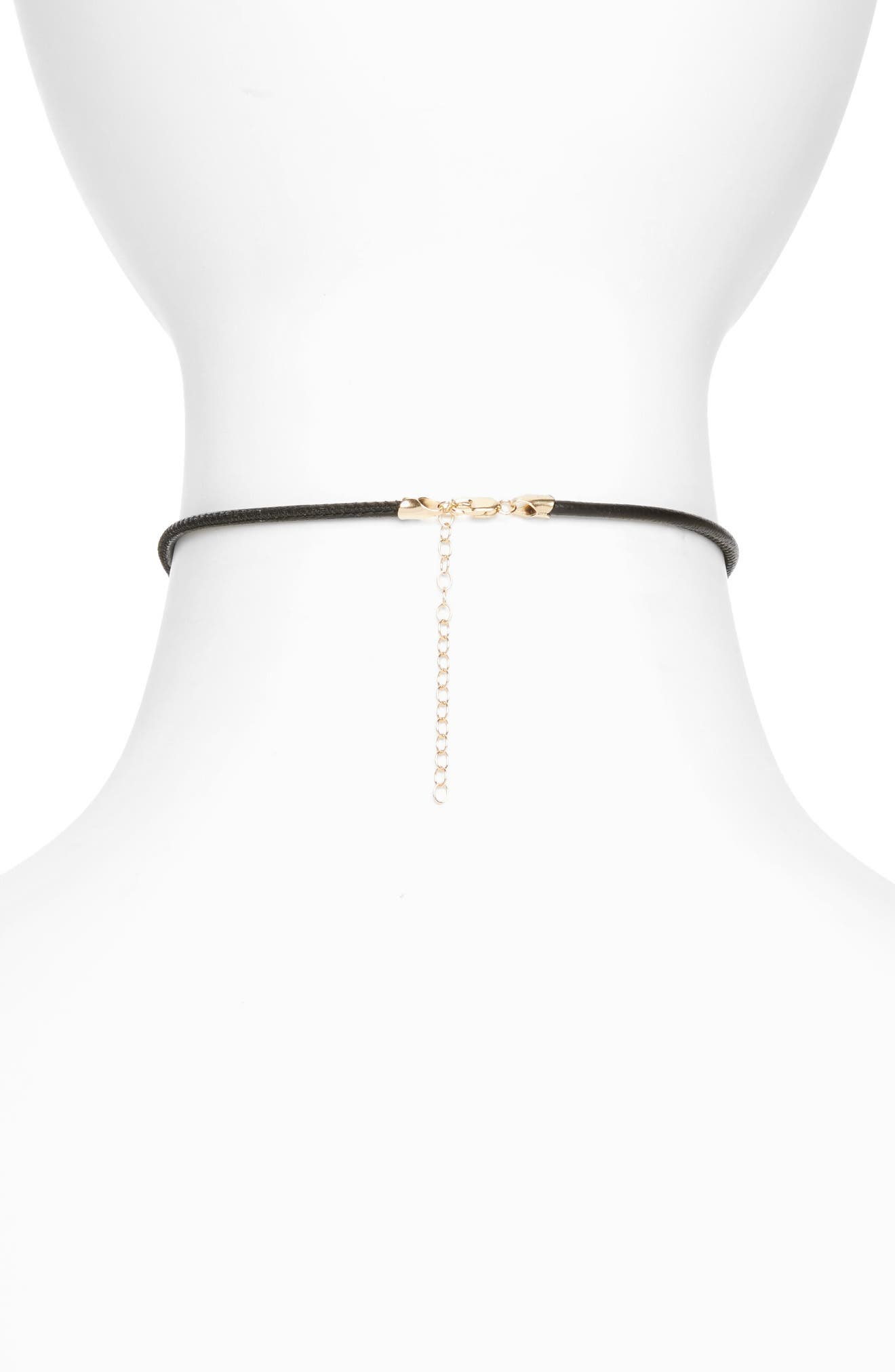 Leather & Pearl Choker,                             Alternate thumbnail 2, color,                             710