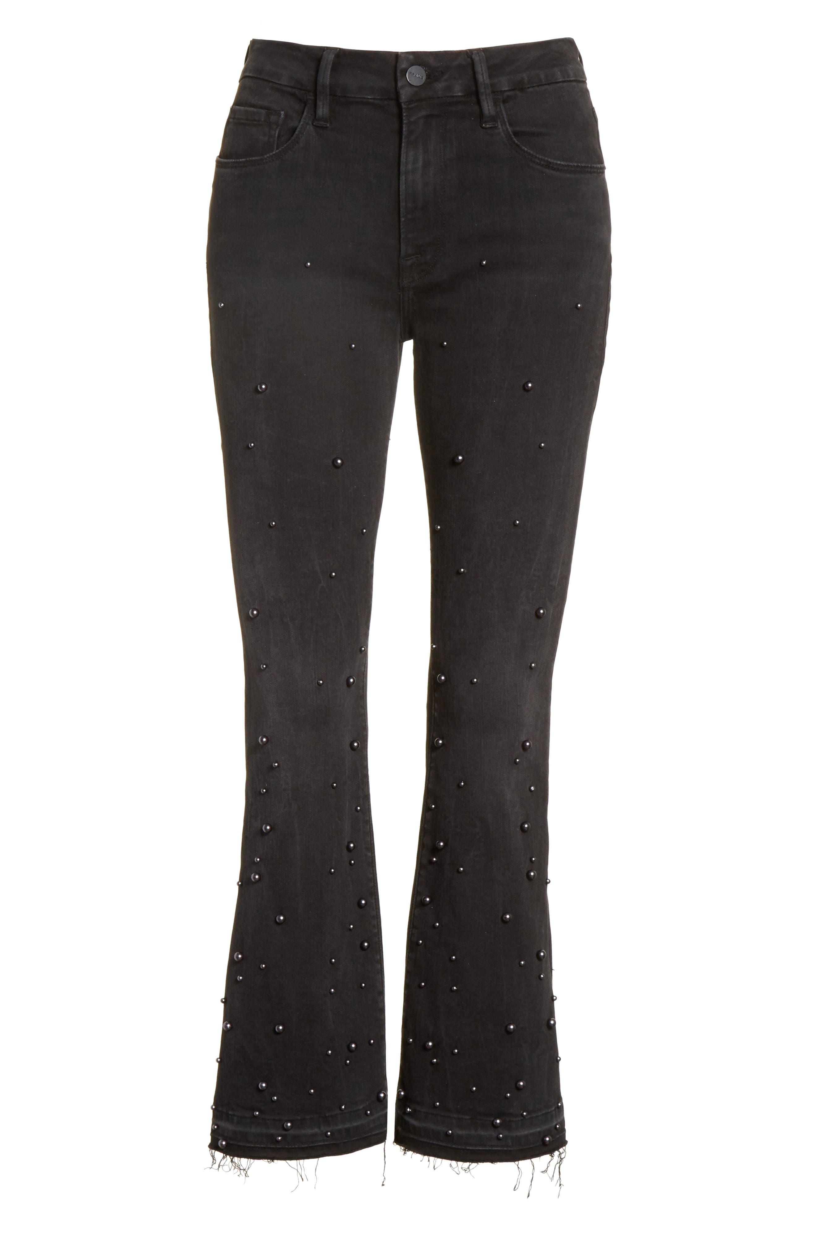 Raw Edge High Rise Embellished Crop Jeans,                             Alternate thumbnail 6, color,                             020