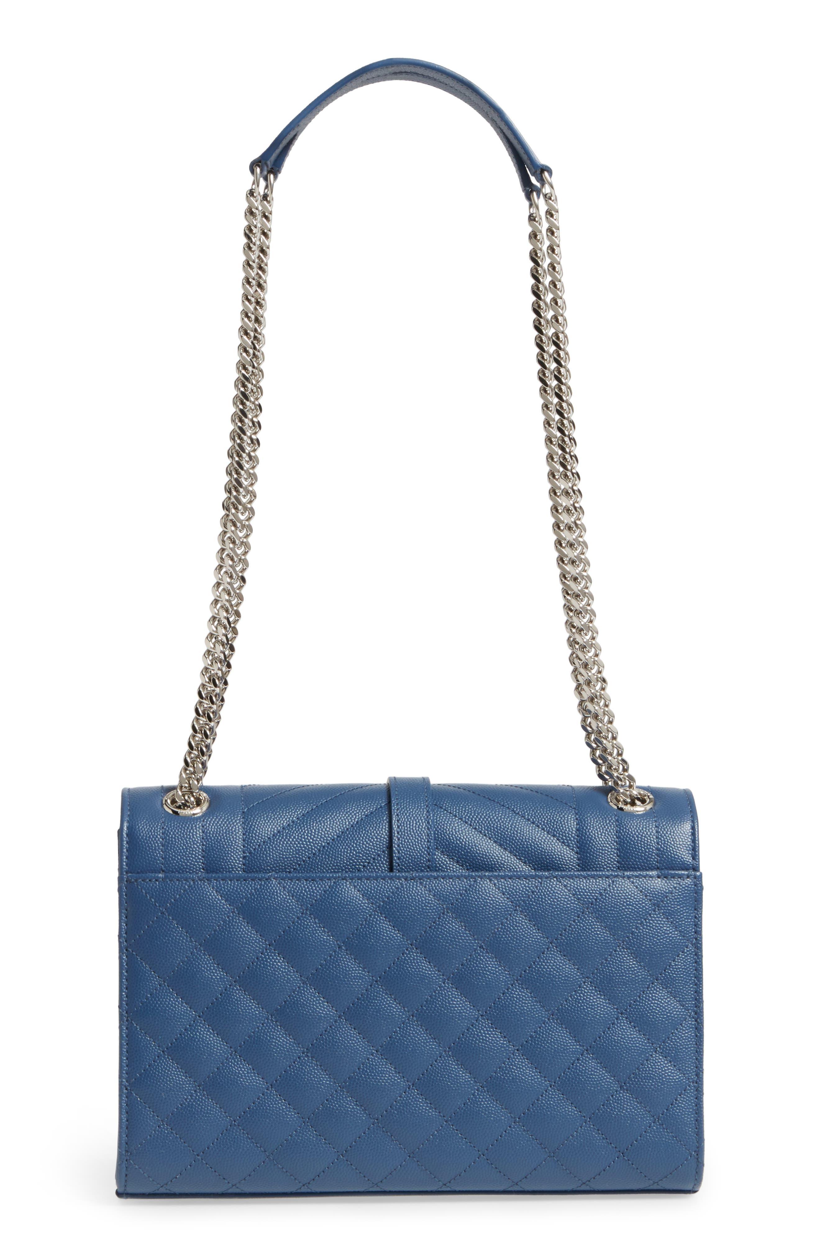 Medium Cassandra Calfskin Shoulder Bag,                             Alternate thumbnail 3, color,                             DEEP MARINE