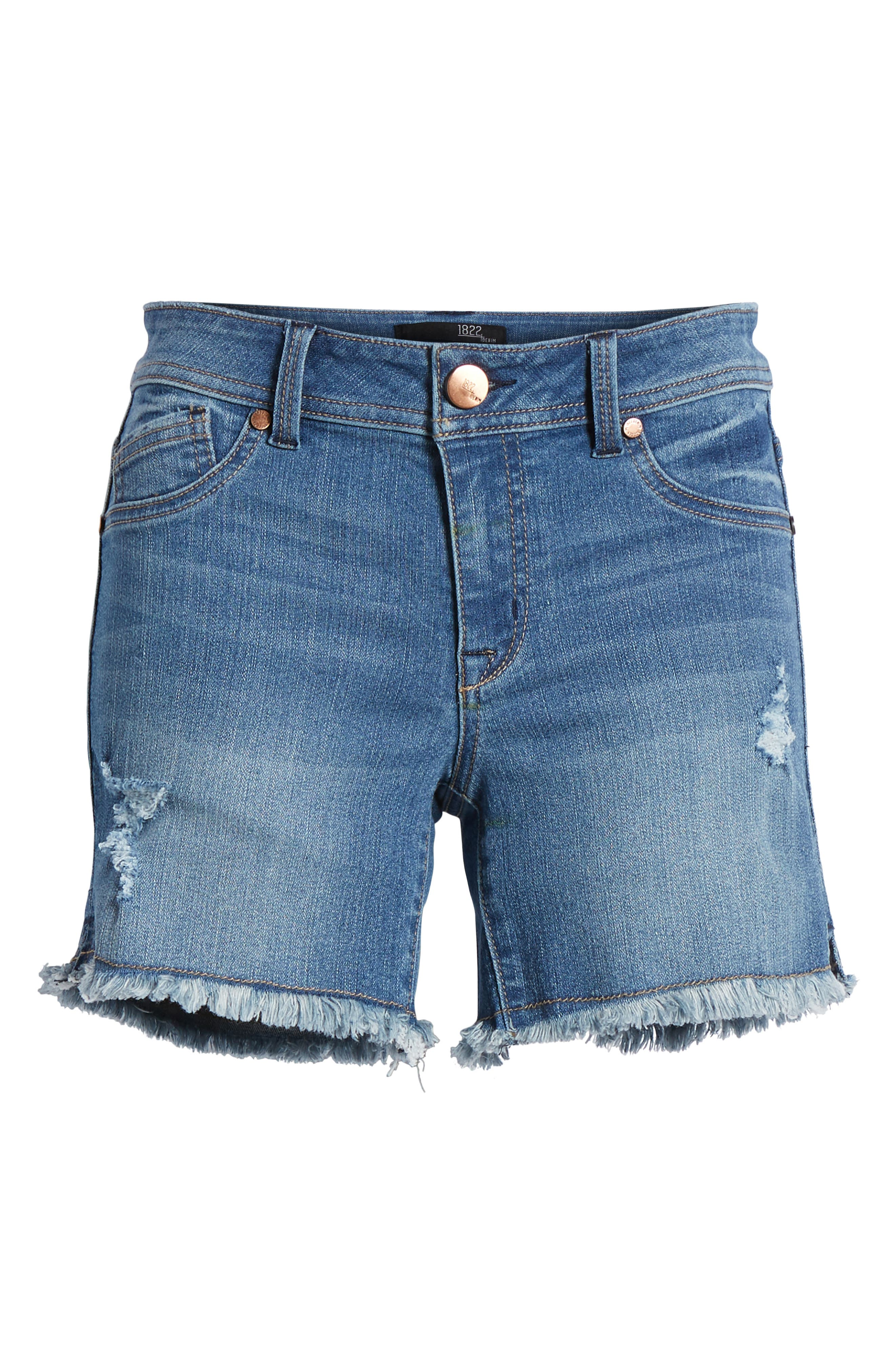 Raw Hem Denim Shorts,                             Alternate thumbnail 7, color,                             400