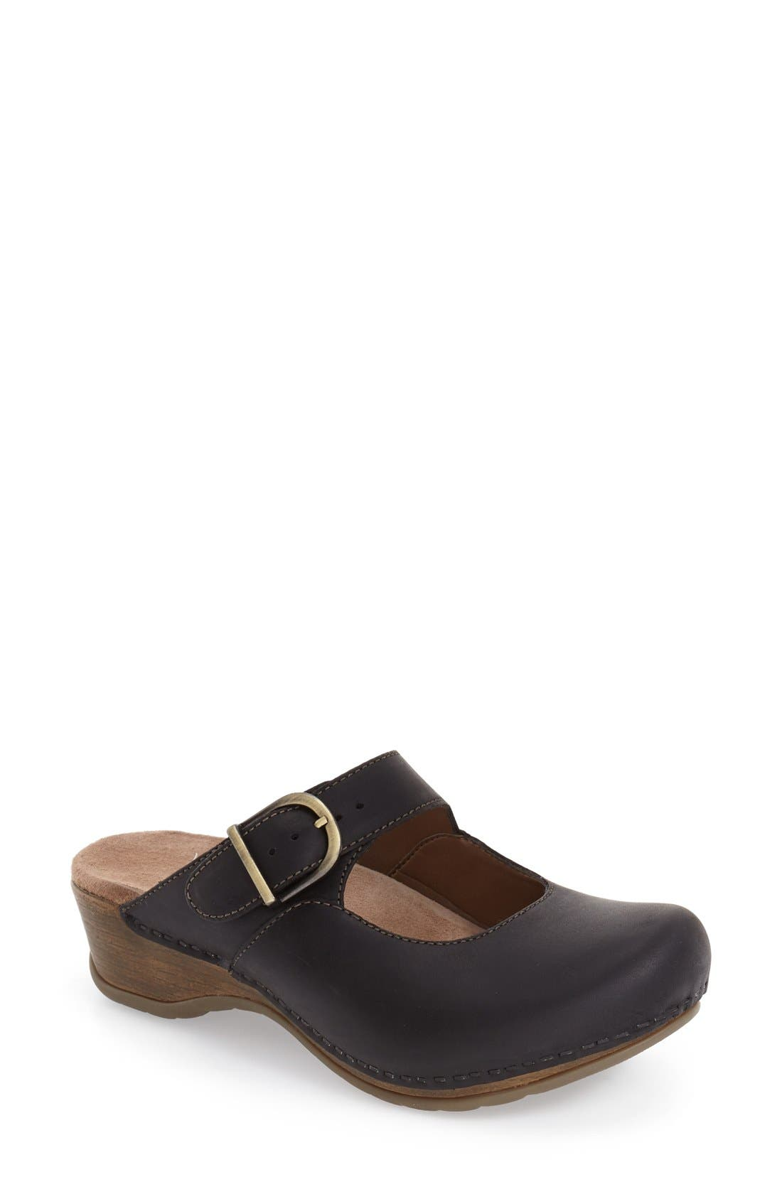 'Martina' Mary Jane Buckle Clog,                         Main,                         color, BLACK OILED LEATHER