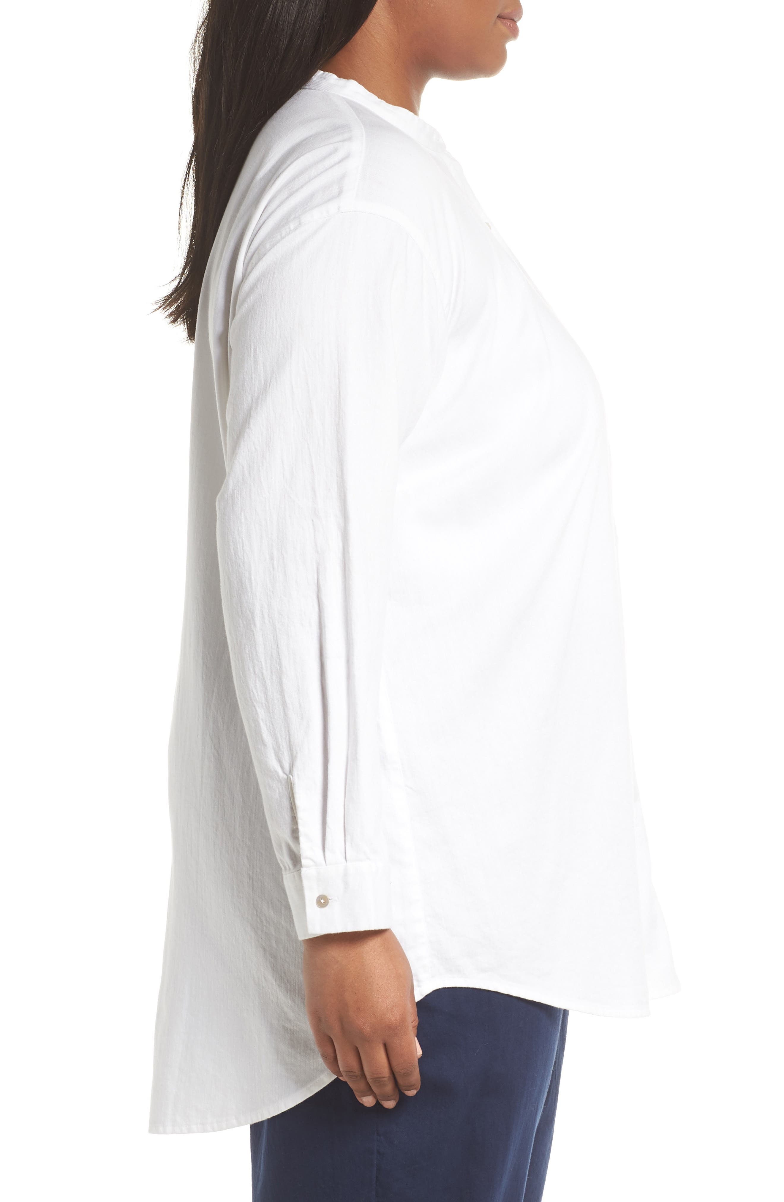 EILEEN FISHER,                             Mandarin Collar Organic Cotton Tunic Shirt,                             Alternate thumbnail 3, color,                             IVORY