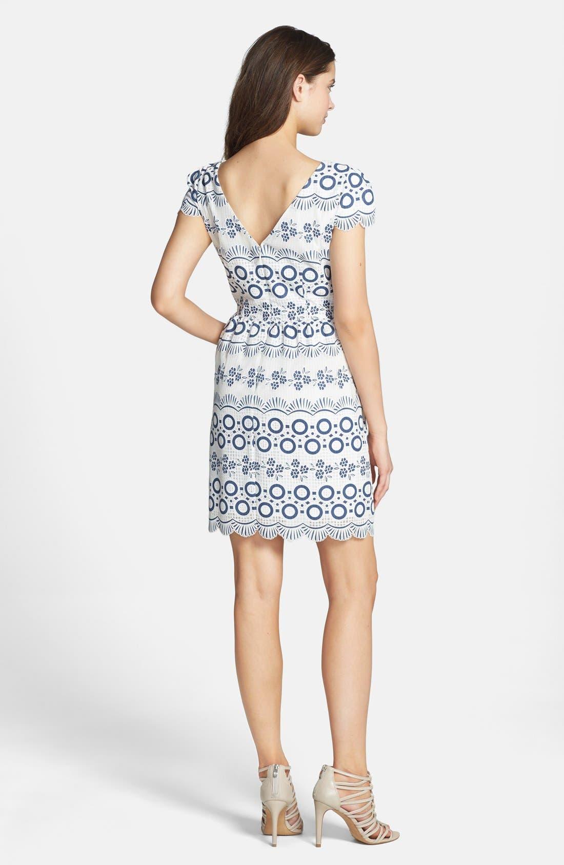 Print Lace Fit & Flare Dress,                             Alternate thumbnail 3, color,                             469