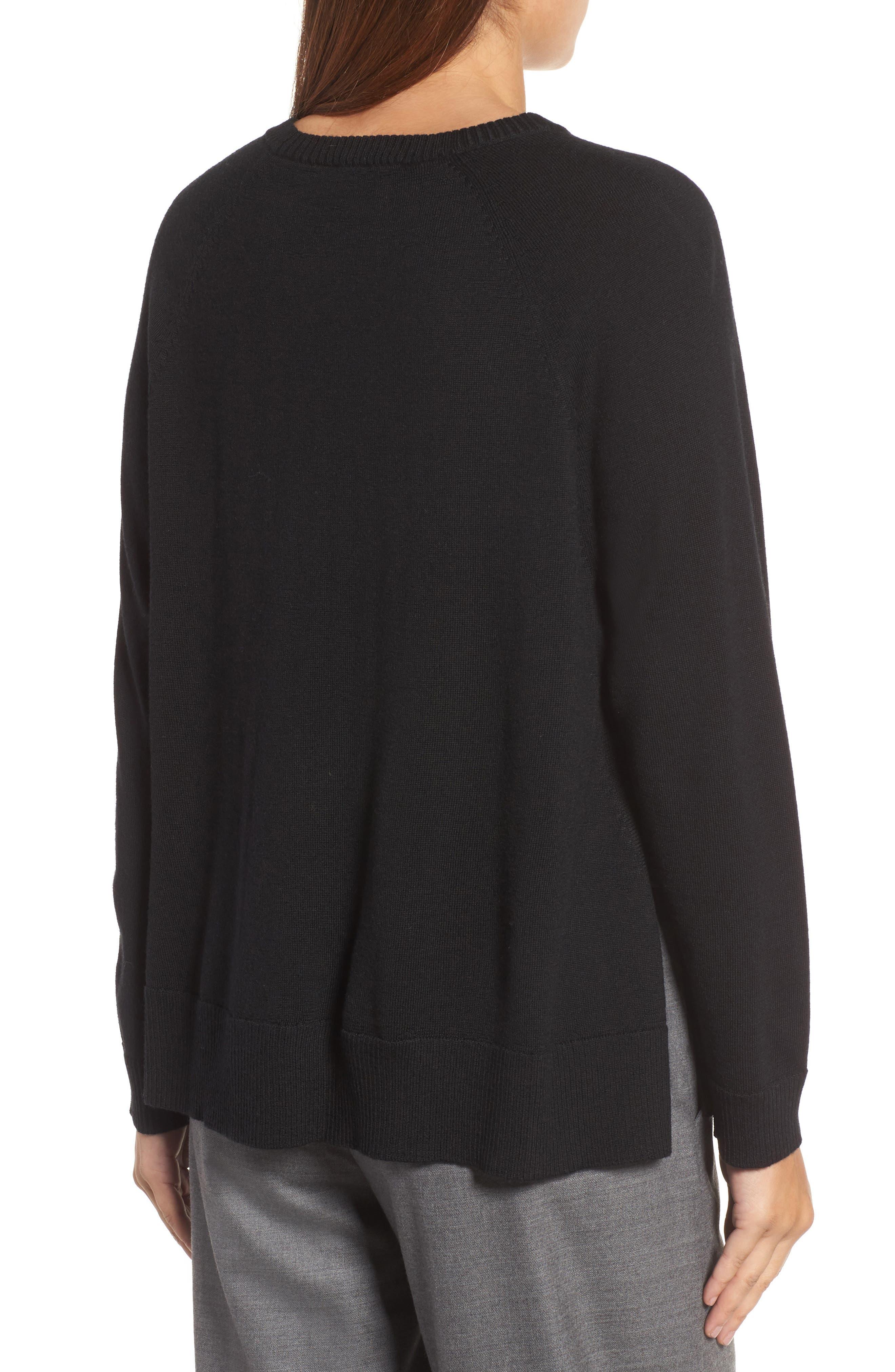 Side Slit Merino Wool Sweater,                             Alternate thumbnail 2, color,                             001