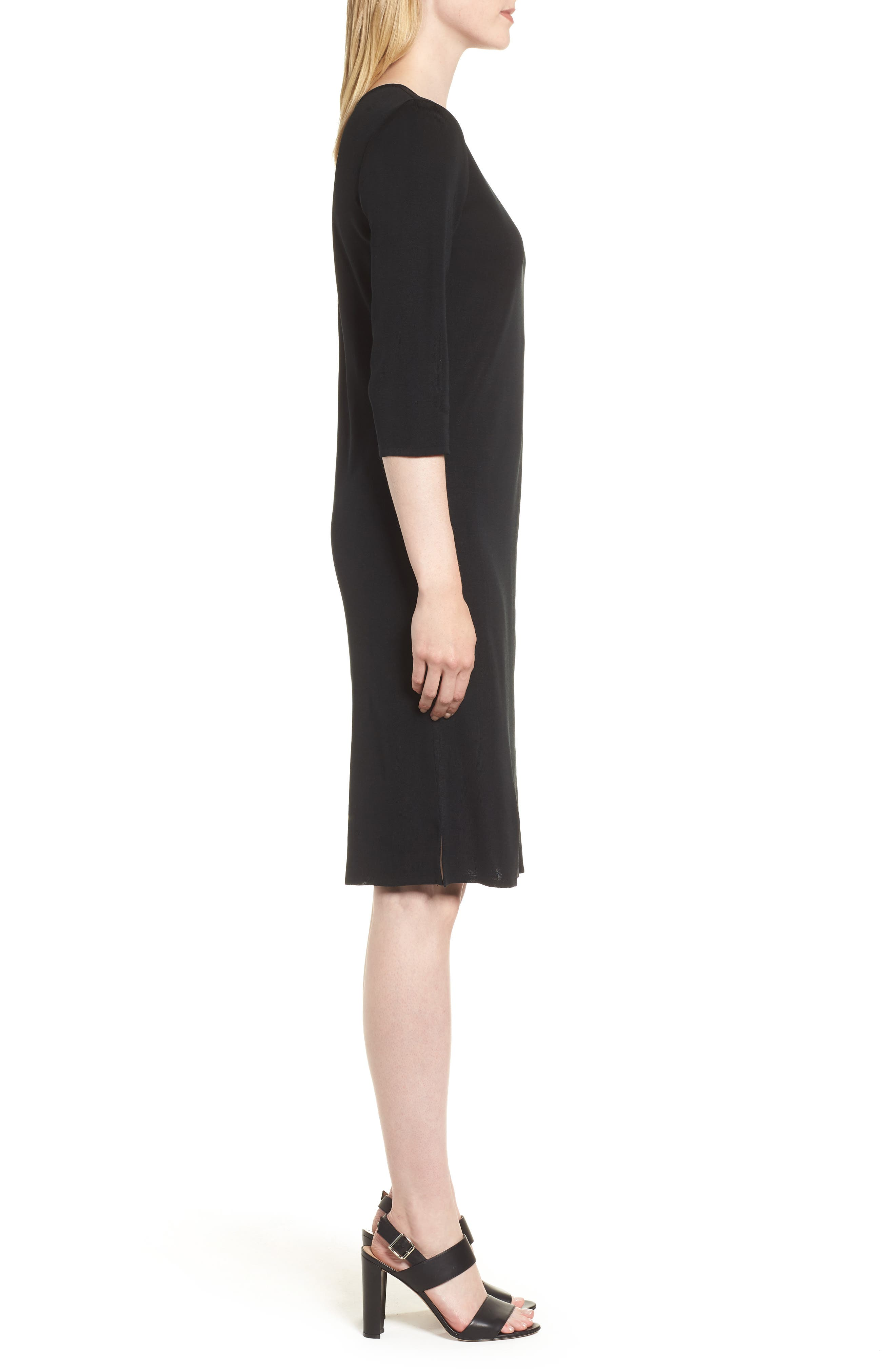 MING WANG,                             V-Neck Dress,                             Alternate thumbnail 3, color,                             BLACK