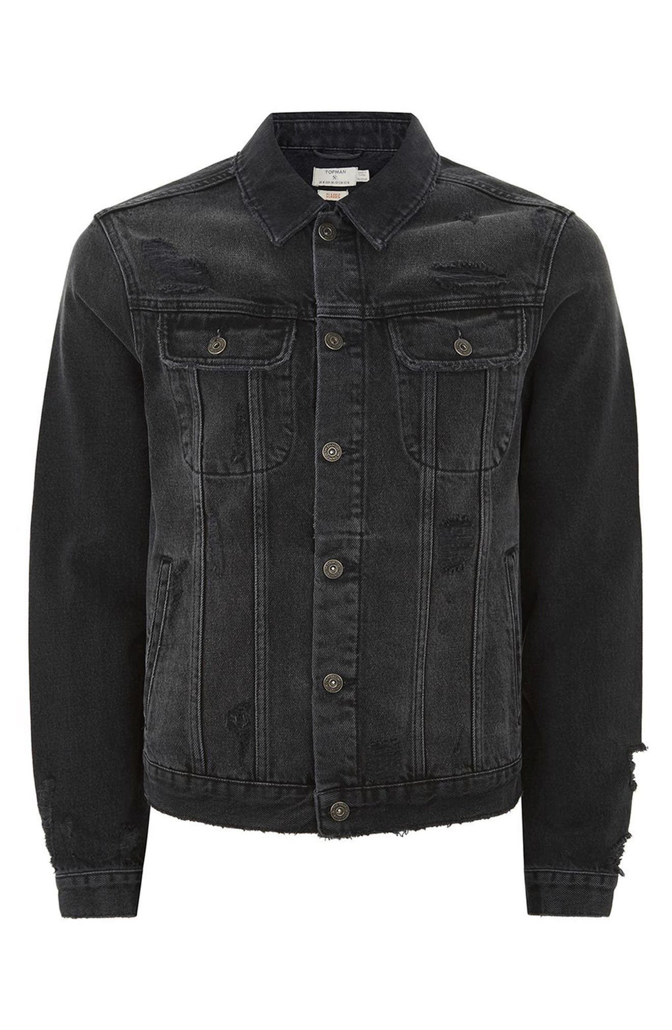 Piro Distressed Denim Jacket,                             Alternate thumbnail 4, color,