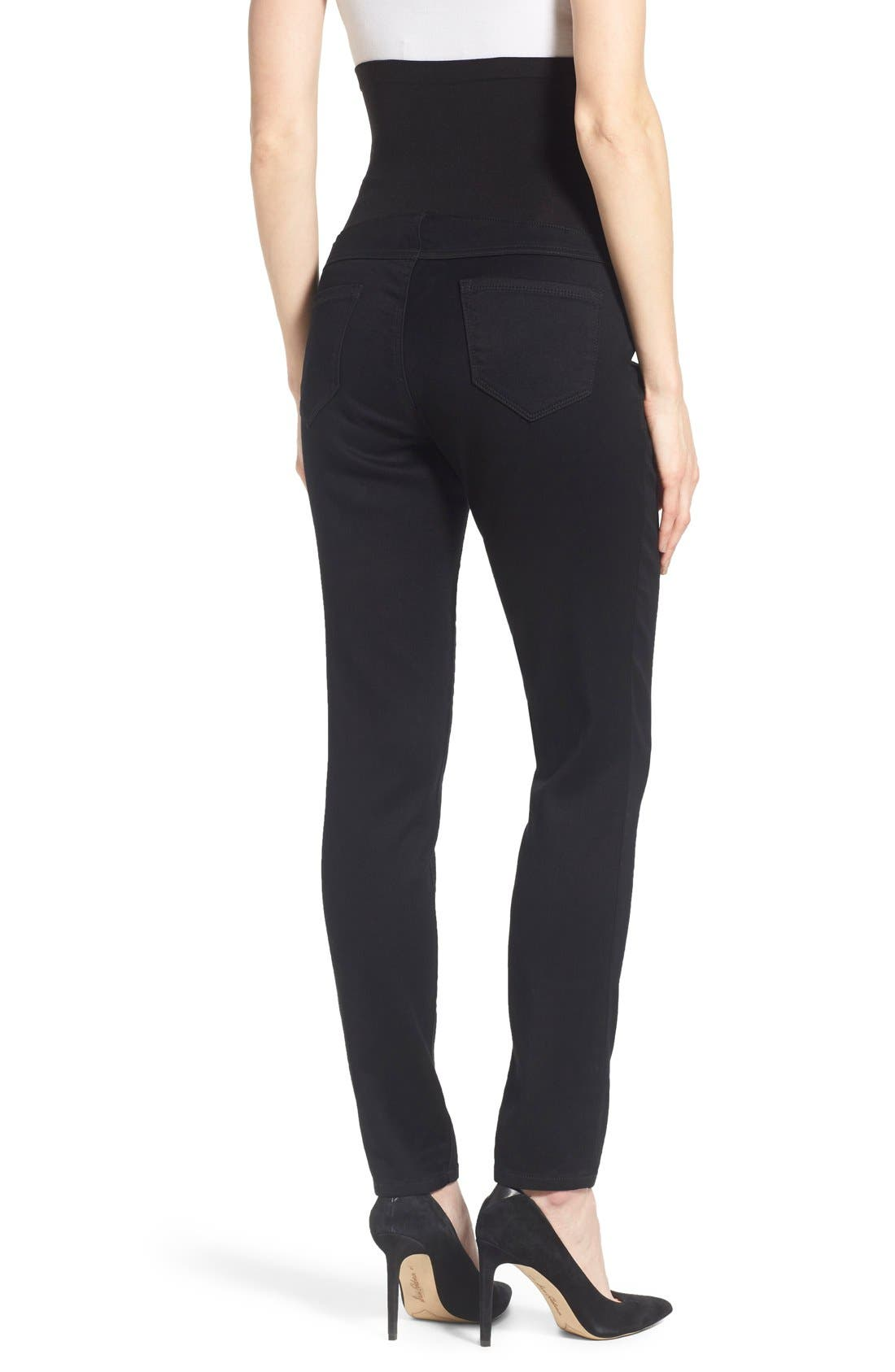'Butter' Maternity Skinny Jeans,                             Alternate thumbnail 2, color,                             BLACK