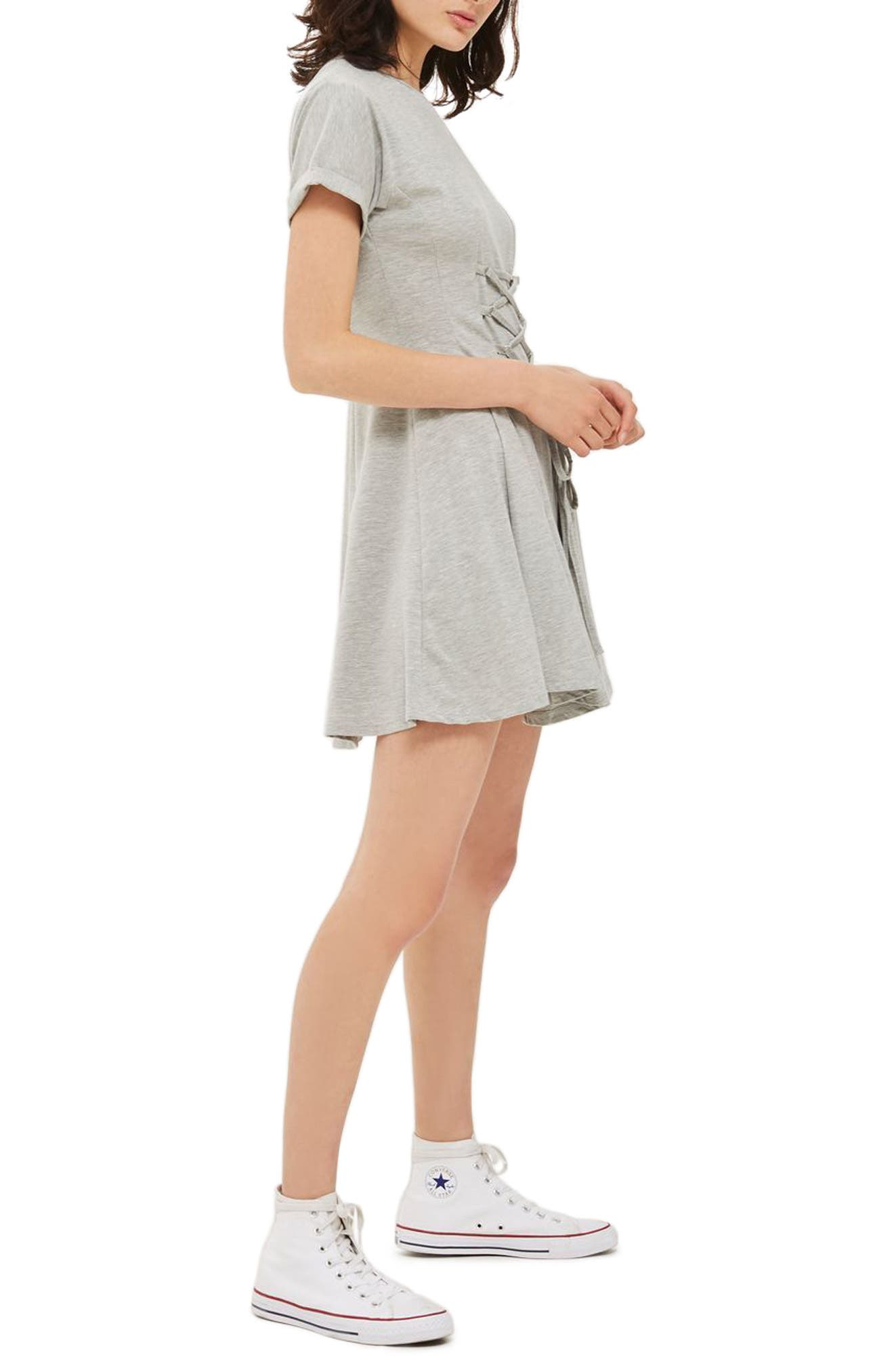 Corset Front Flippy Tunic Dress,                             Alternate thumbnail 8, color,