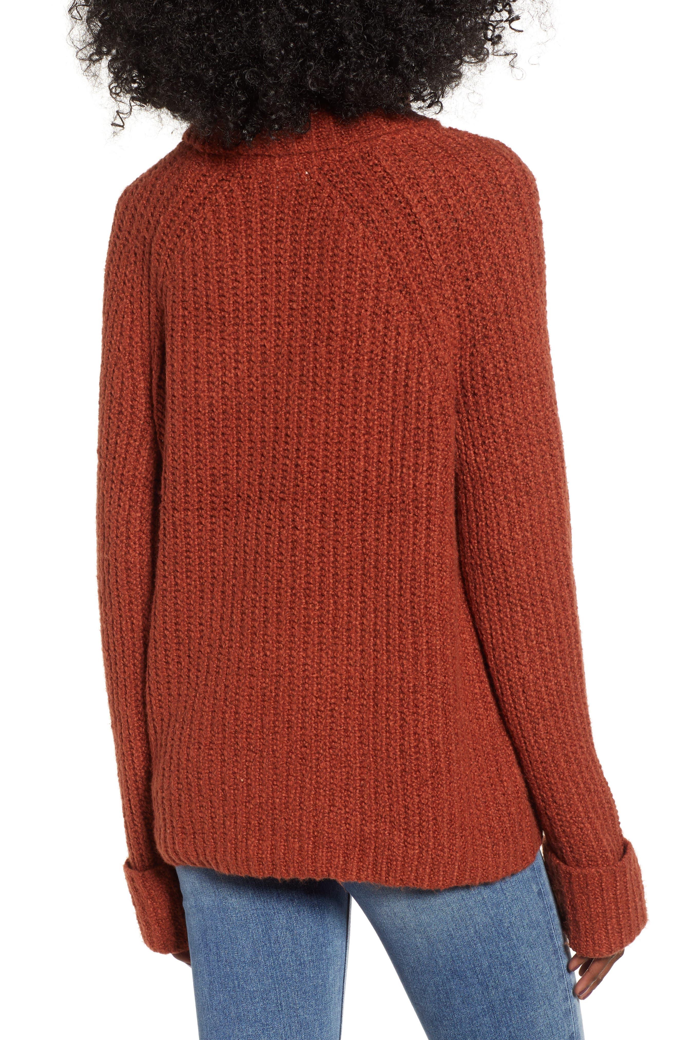 Cozy Turtleneck Sweater,                             Alternate thumbnail 2, color,                             RUST SEQUOIA