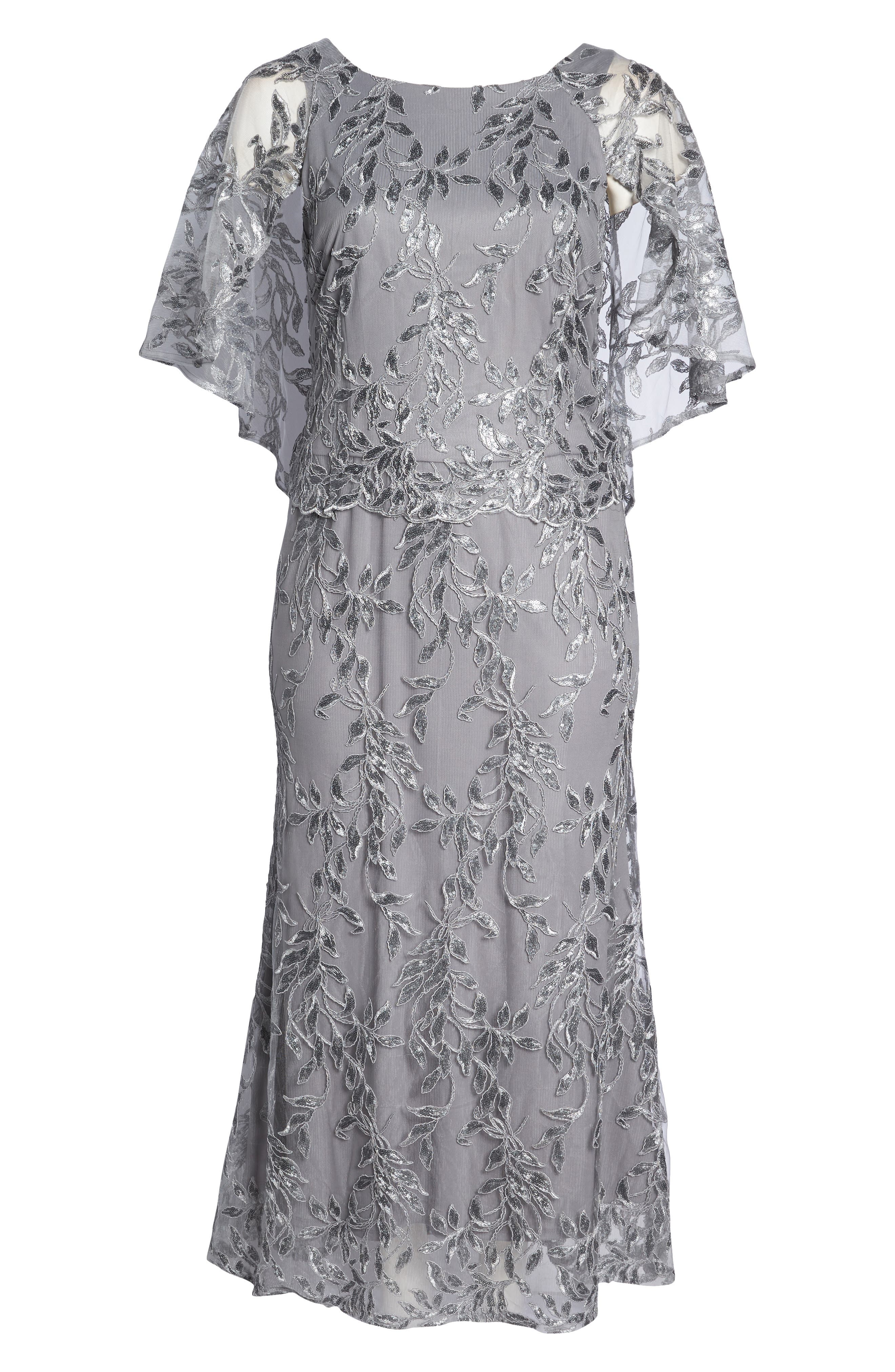 Sequin Embroidered Capelet Gown,                             Alternate thumbnail 7, color,                             040