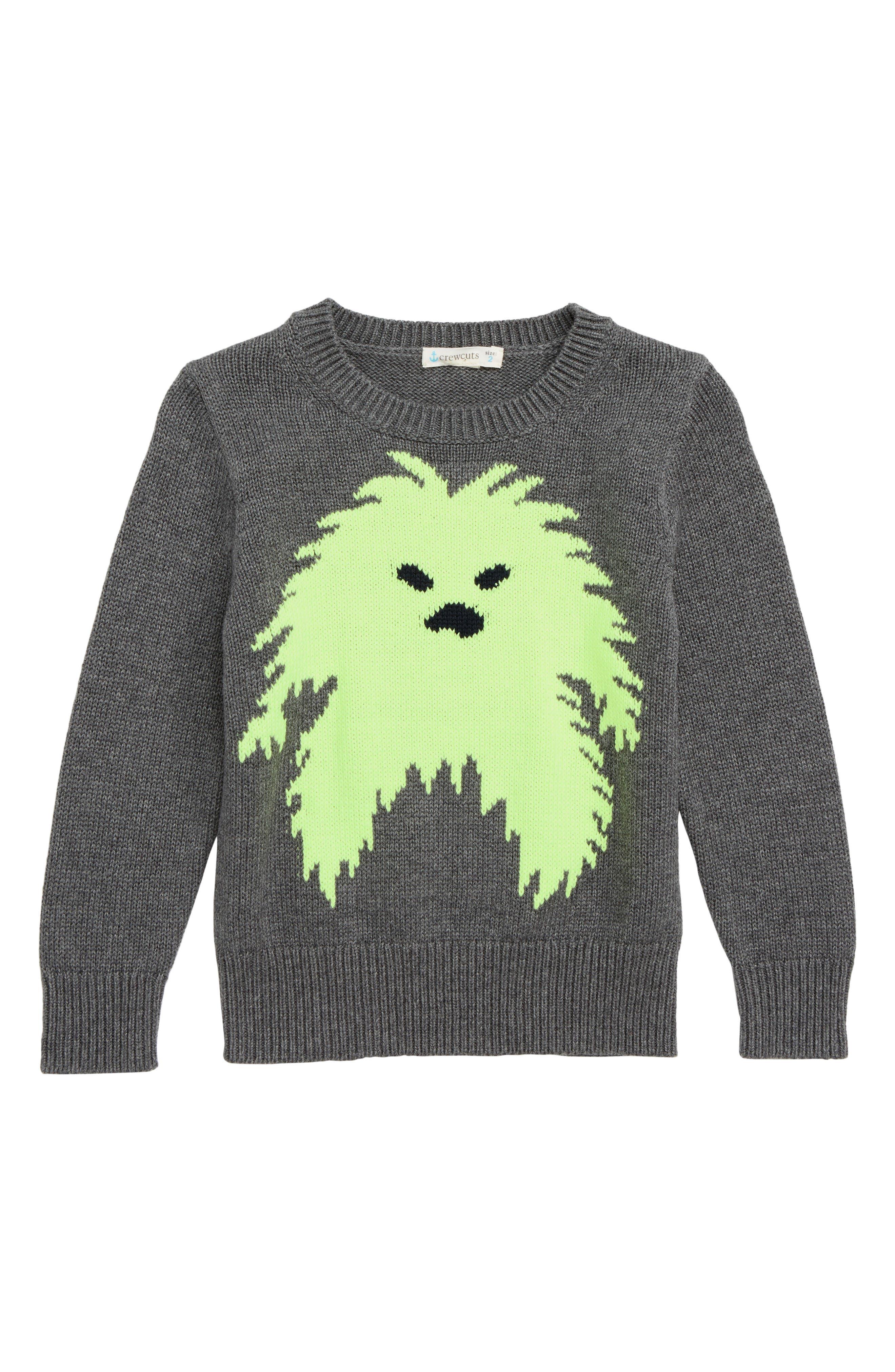 CREWCUTS BY J.CREW,                             Yeti Sweater,                             Main thumbnail 1, color,                             NEON GREEN