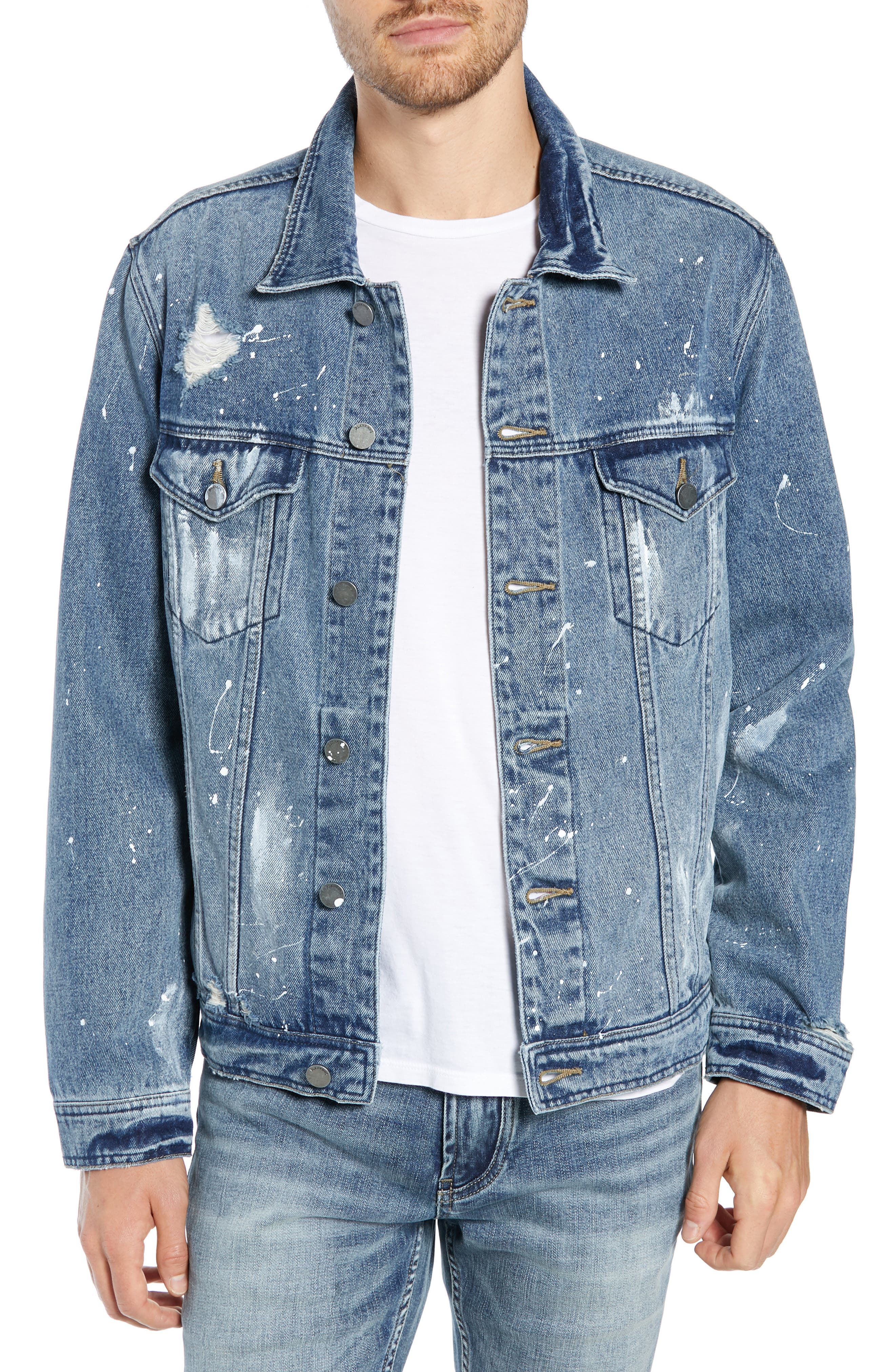 BLANKNYC Distressed Denim Trucker Jacket, Main, color, OH BEHAVE