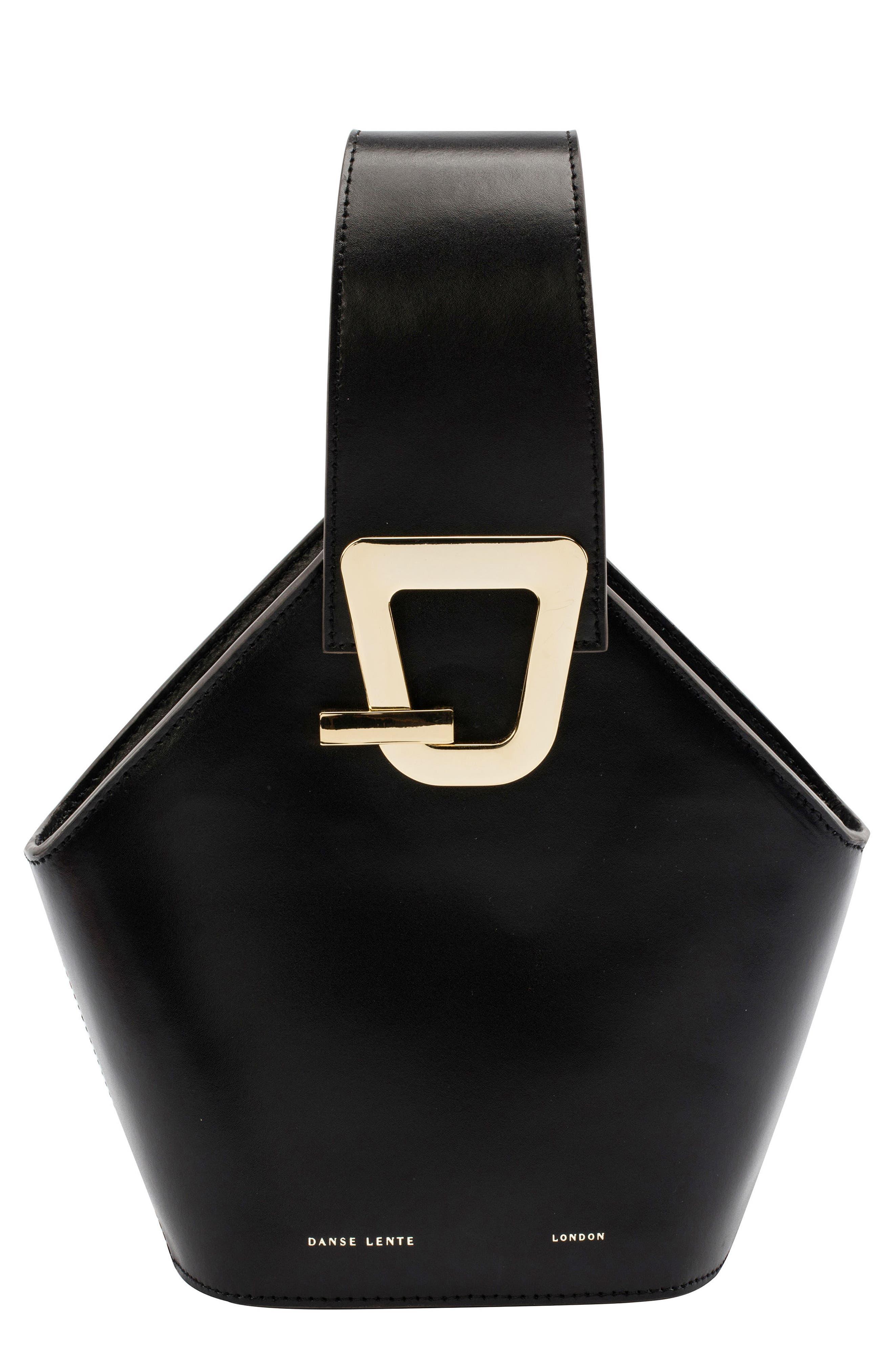 Mini Johnny Leather Bucket Bag,                         Main,                         color, BLACK