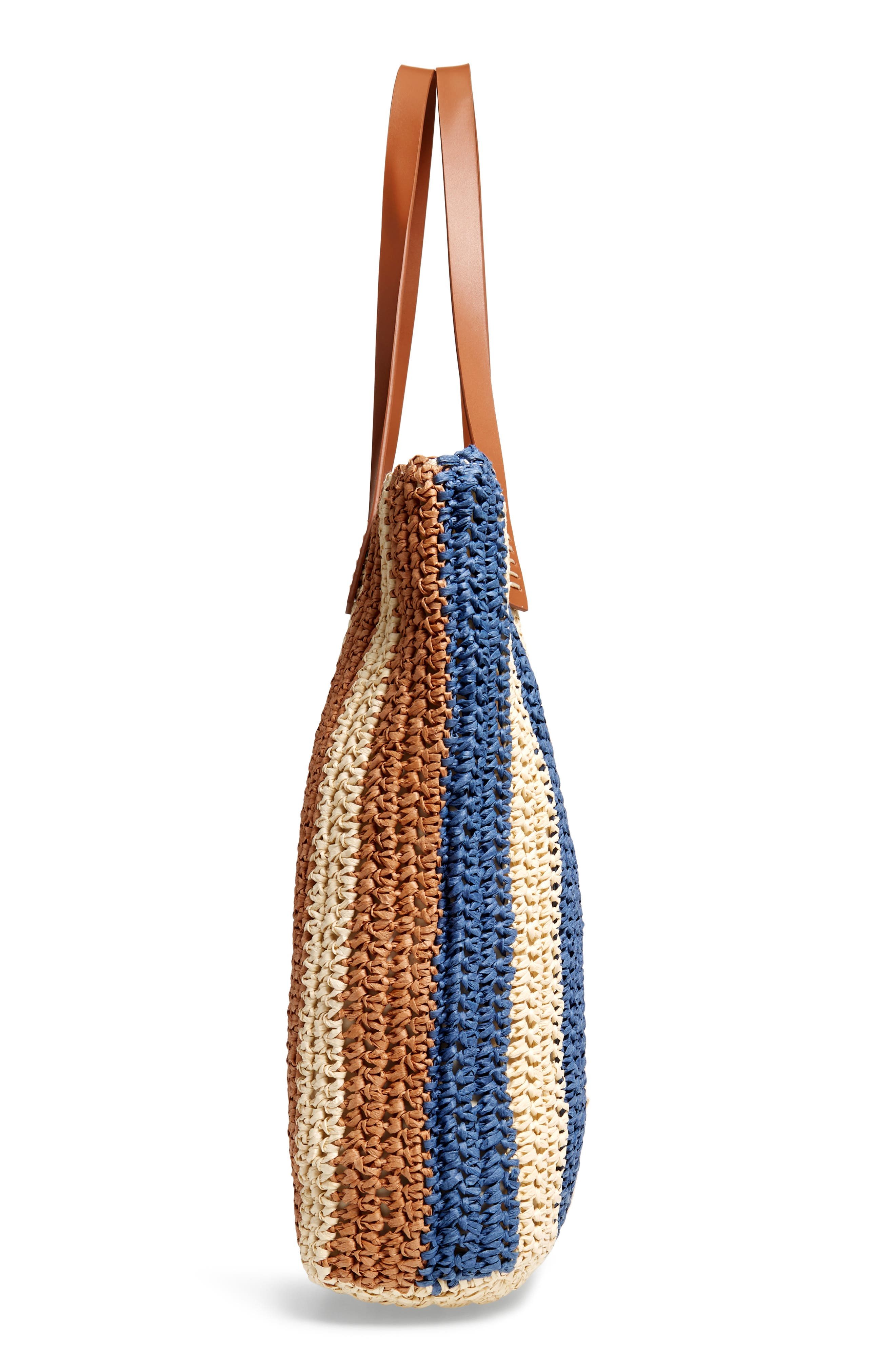 Stripe North/South Raffia Tote,                             Alternate thumbnail 5, color,                             MULTI