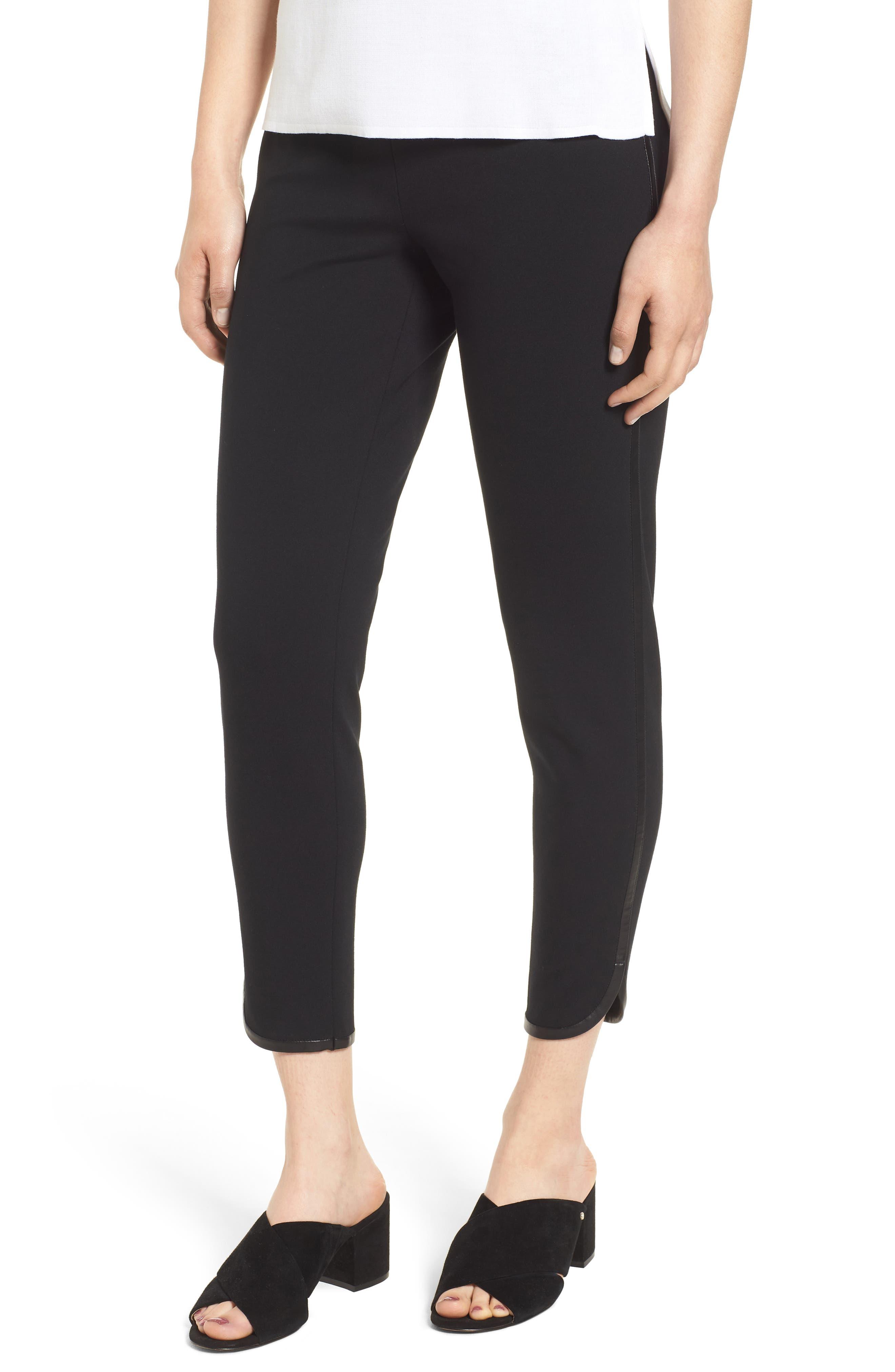 Ponte Knit Crop Pants,                             Main thumbnail 1, color,                             BLACK