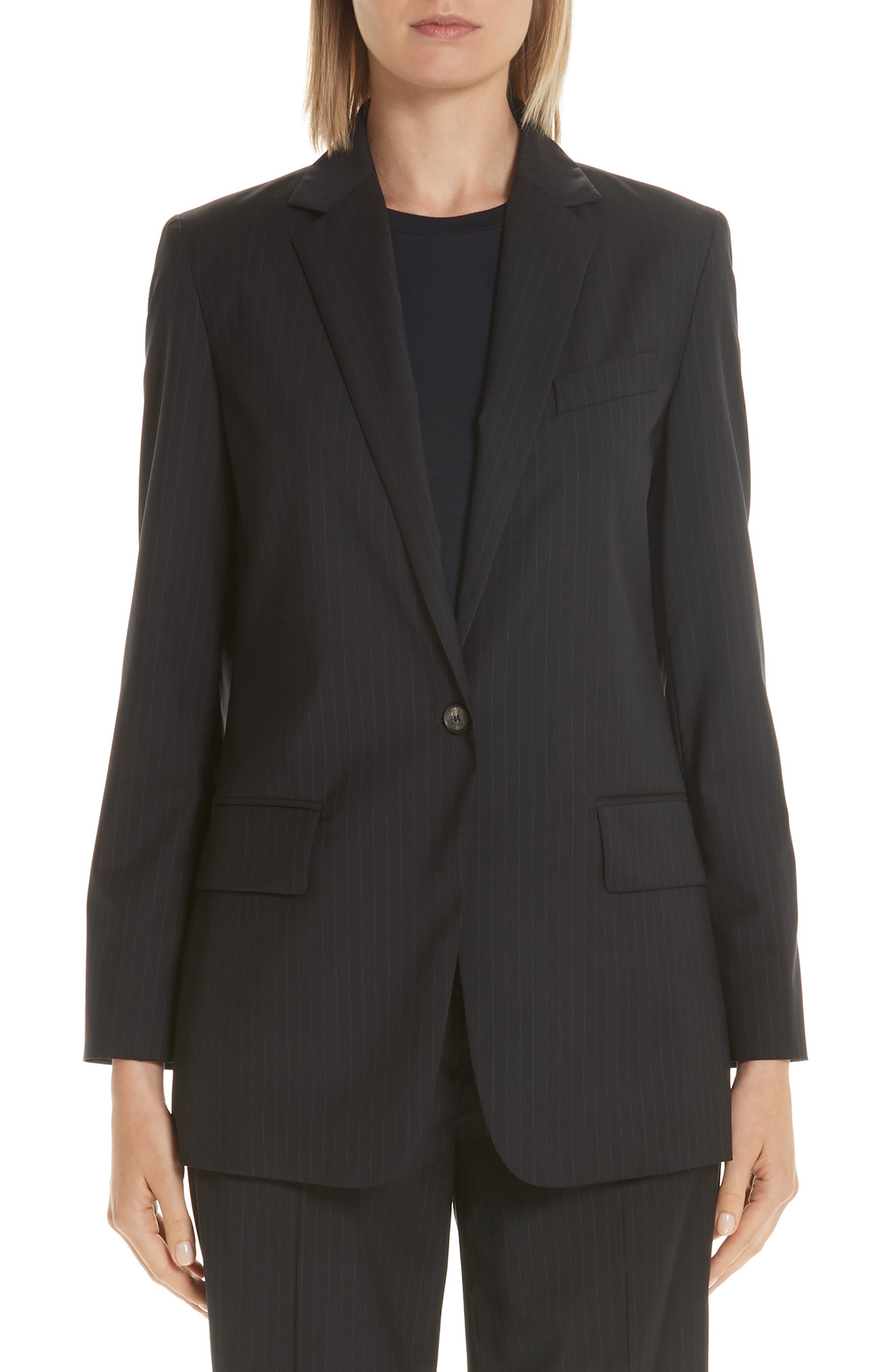 MAX MARA,                             Laser Single Button Wool Jacket,                             Main thumbnail 1, color,                             ULTRAMARINE