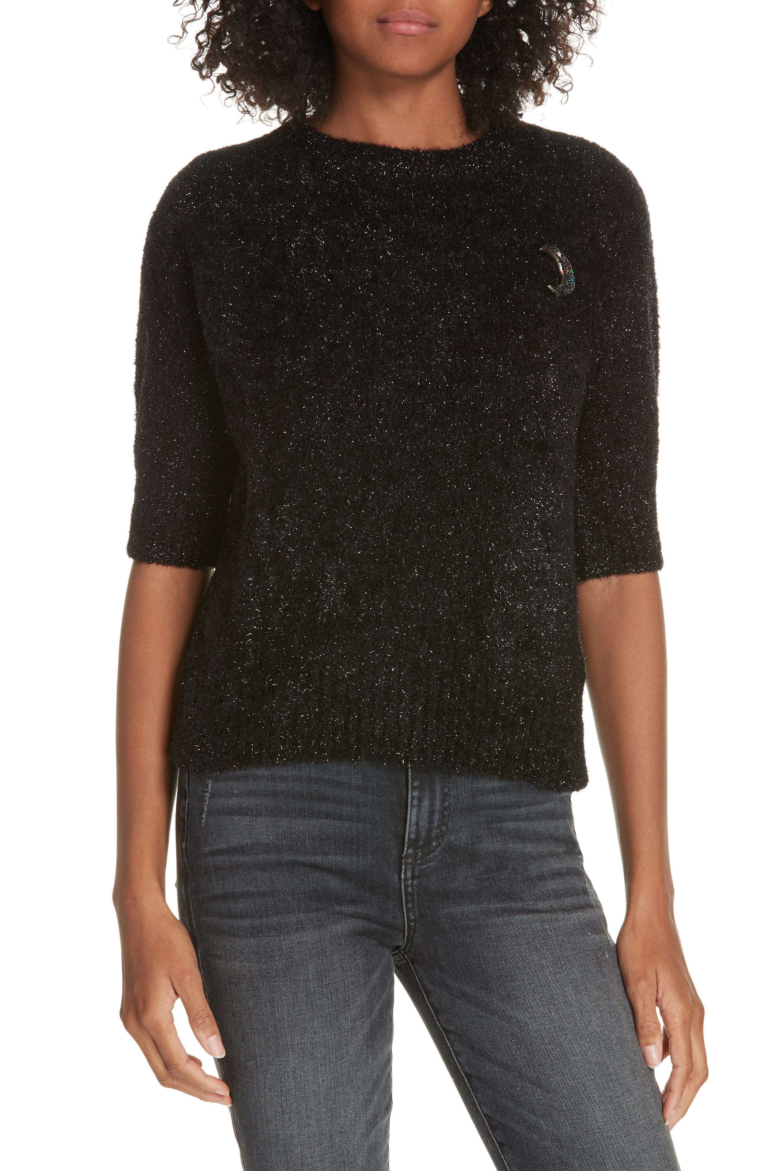 Colour by Numbers Aalana Short Sleeve Sweater,                             Main thumbnail 1, color,                             00-BLACK