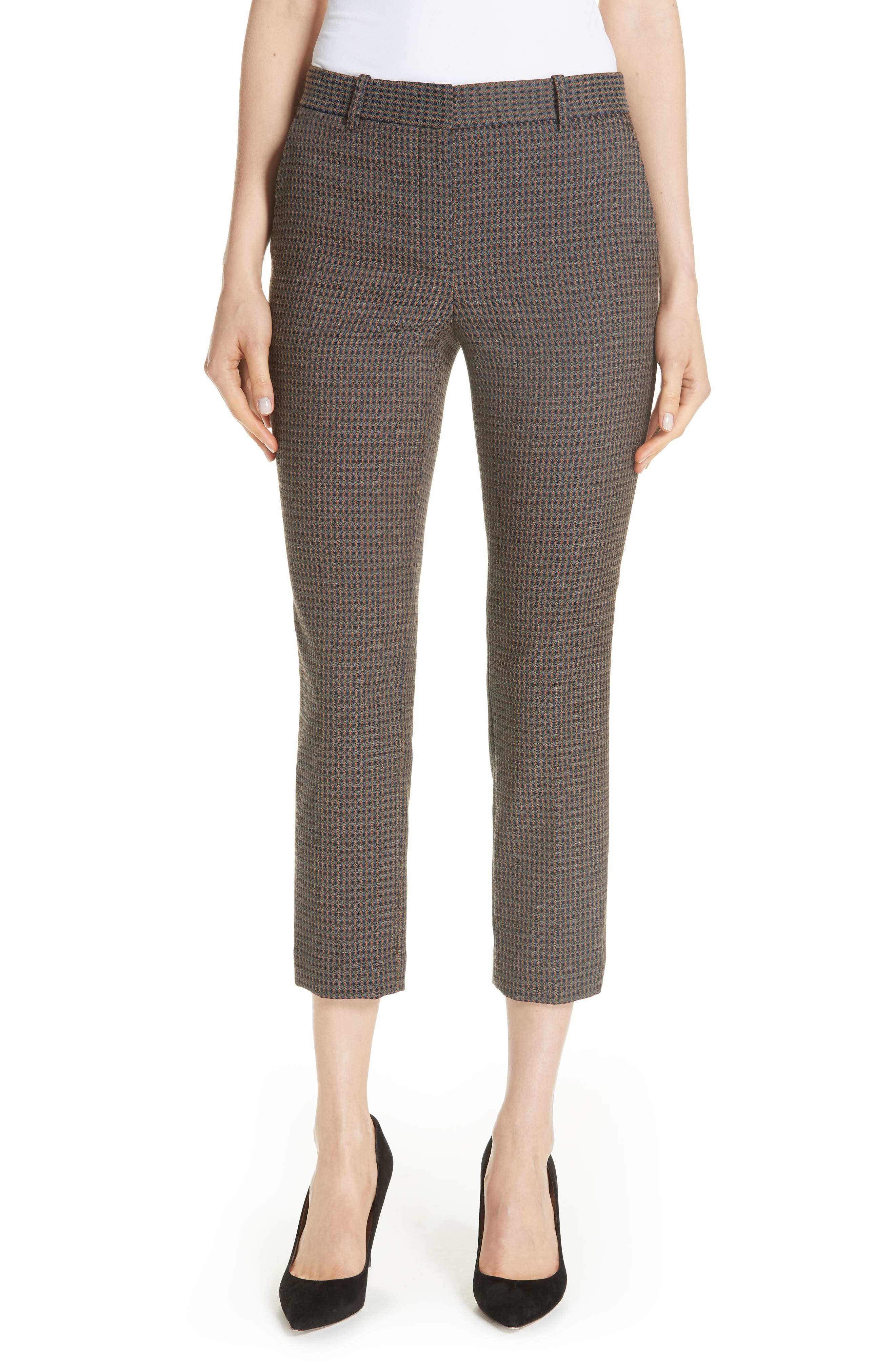 Treeca 2 Dotted-Jacquard Straight-Leg Cropped Pants in Multi