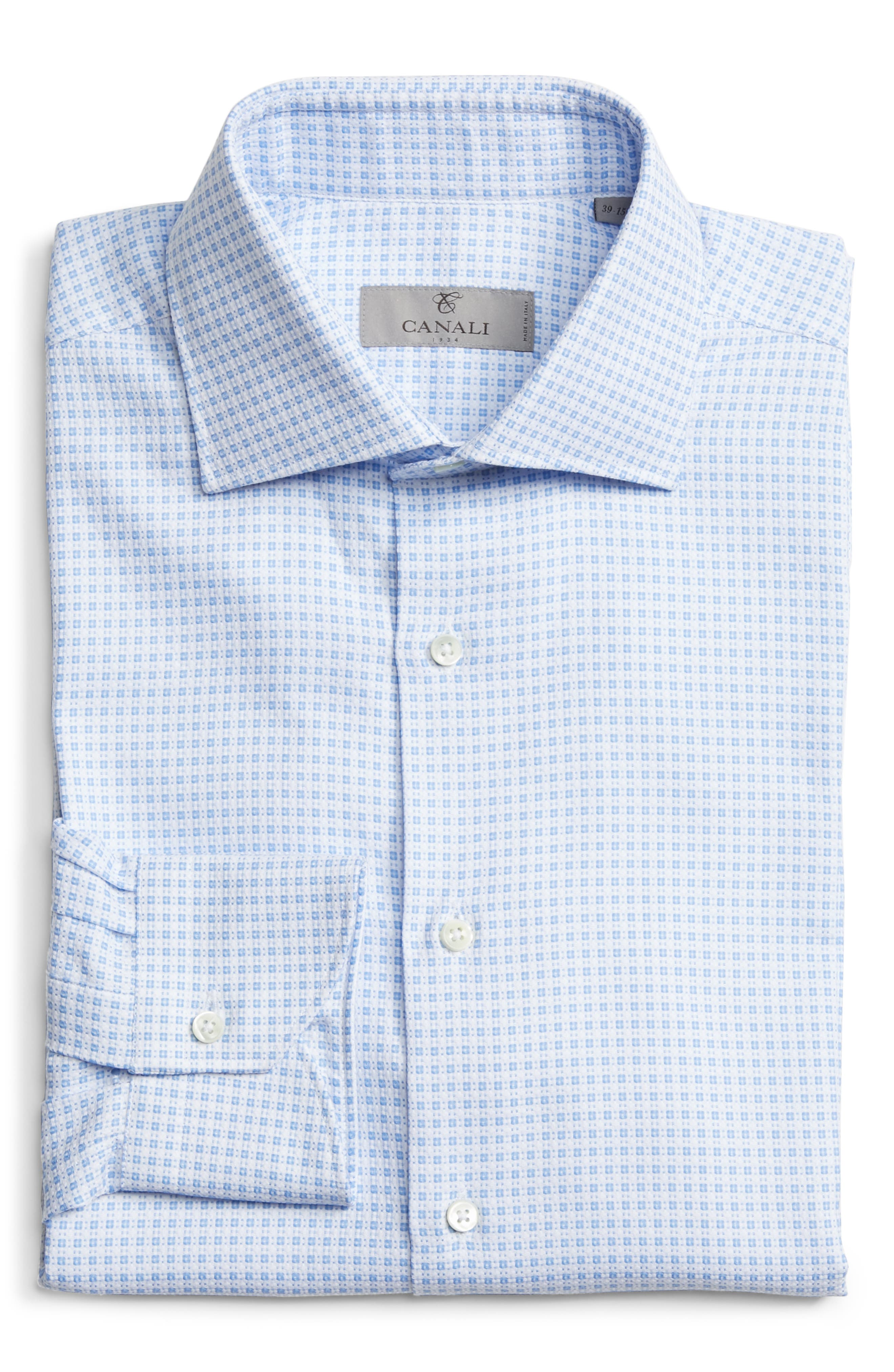 Trim Fit Check Dress Shirt,                             Alternate thumbnail 6, color,                             BRIGHT BLUE