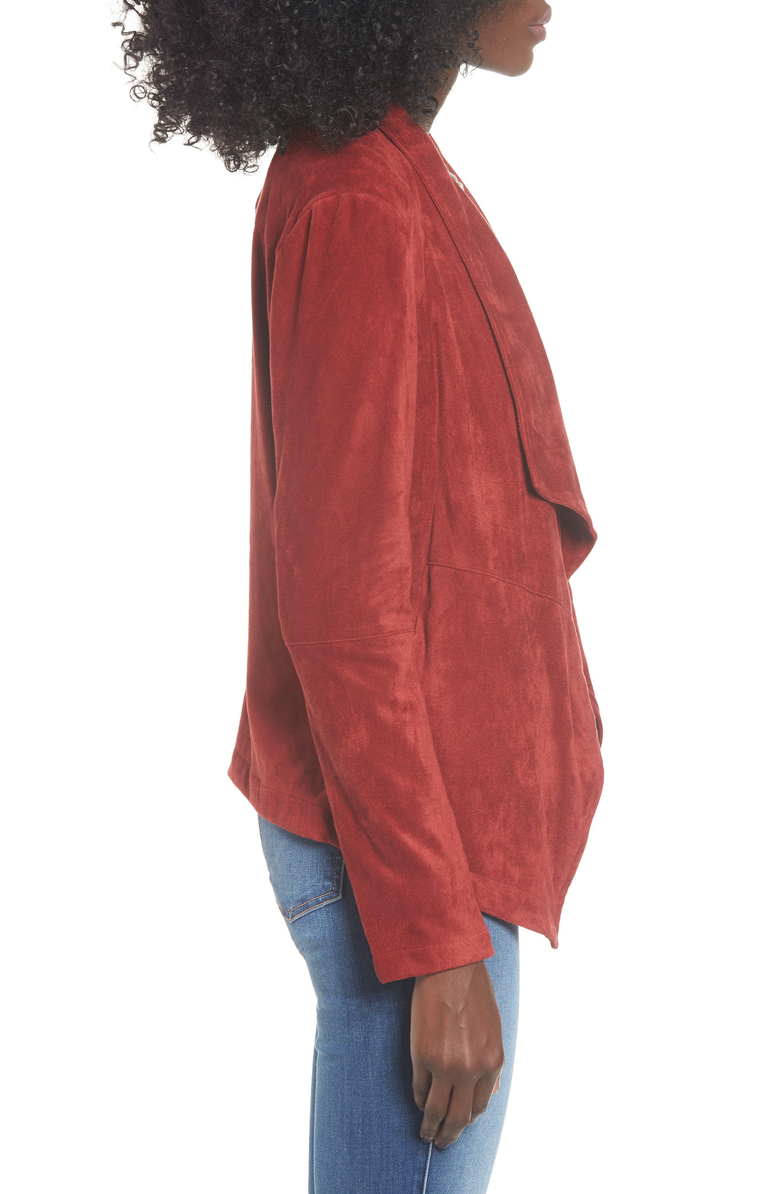 BB DAKOTA,                             Nicholson Faux Suede Drape Front Jacket,                             Alternate thumbnail 4, color,                             BRICK RED