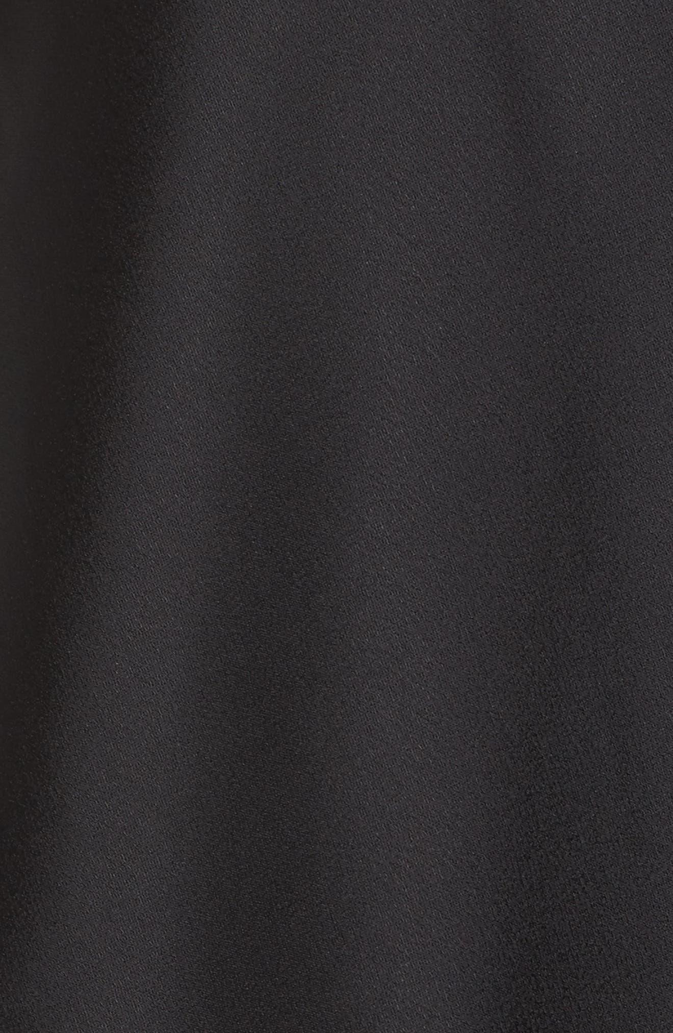 Crepe & Satin Ruffle Shift Dress,                             Alternate thumbnail 5, color,                             002