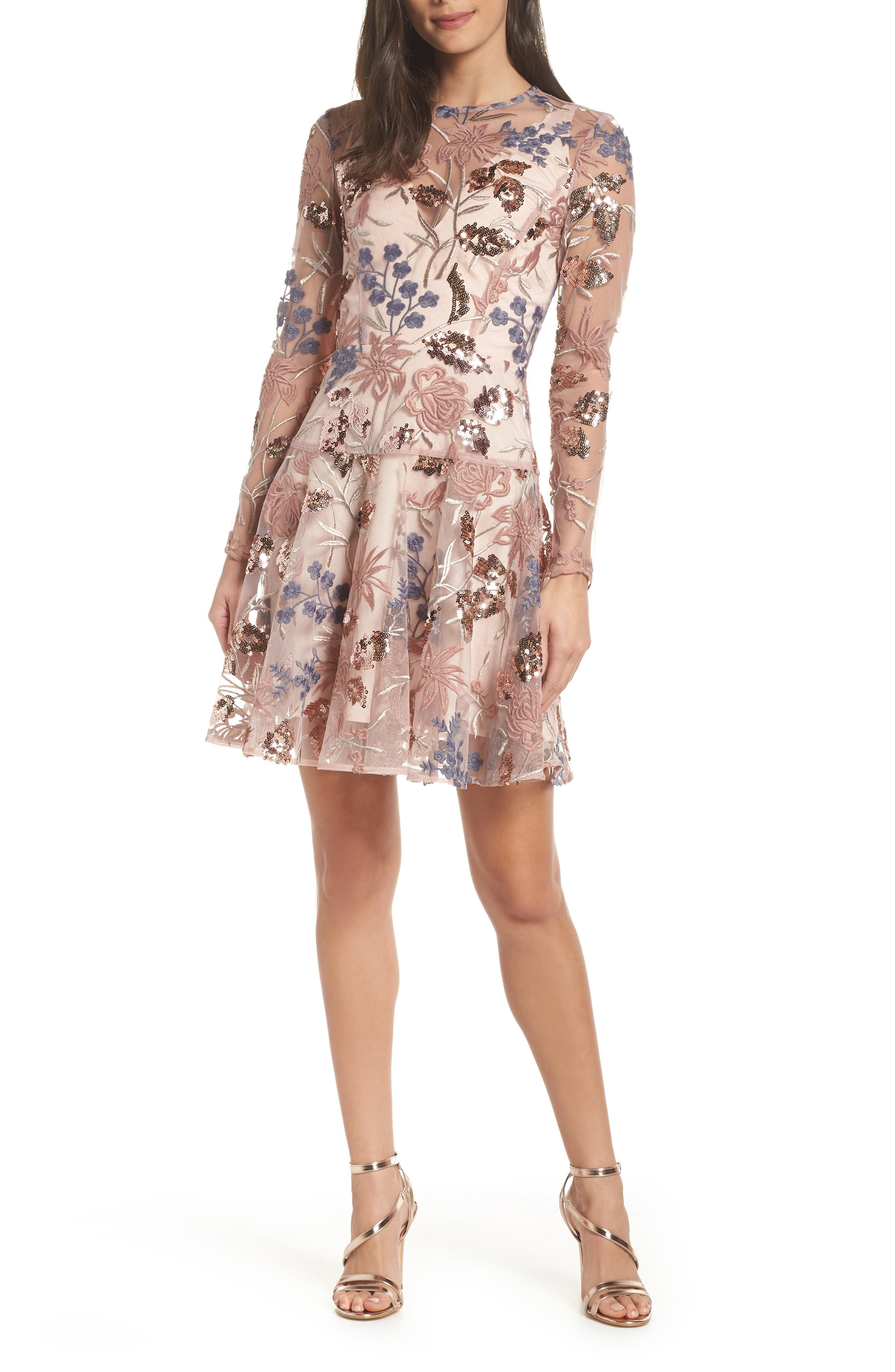 BRONX AND BANCO Aurora Embroidered Fit & Flare Dress, Main, color, PINK