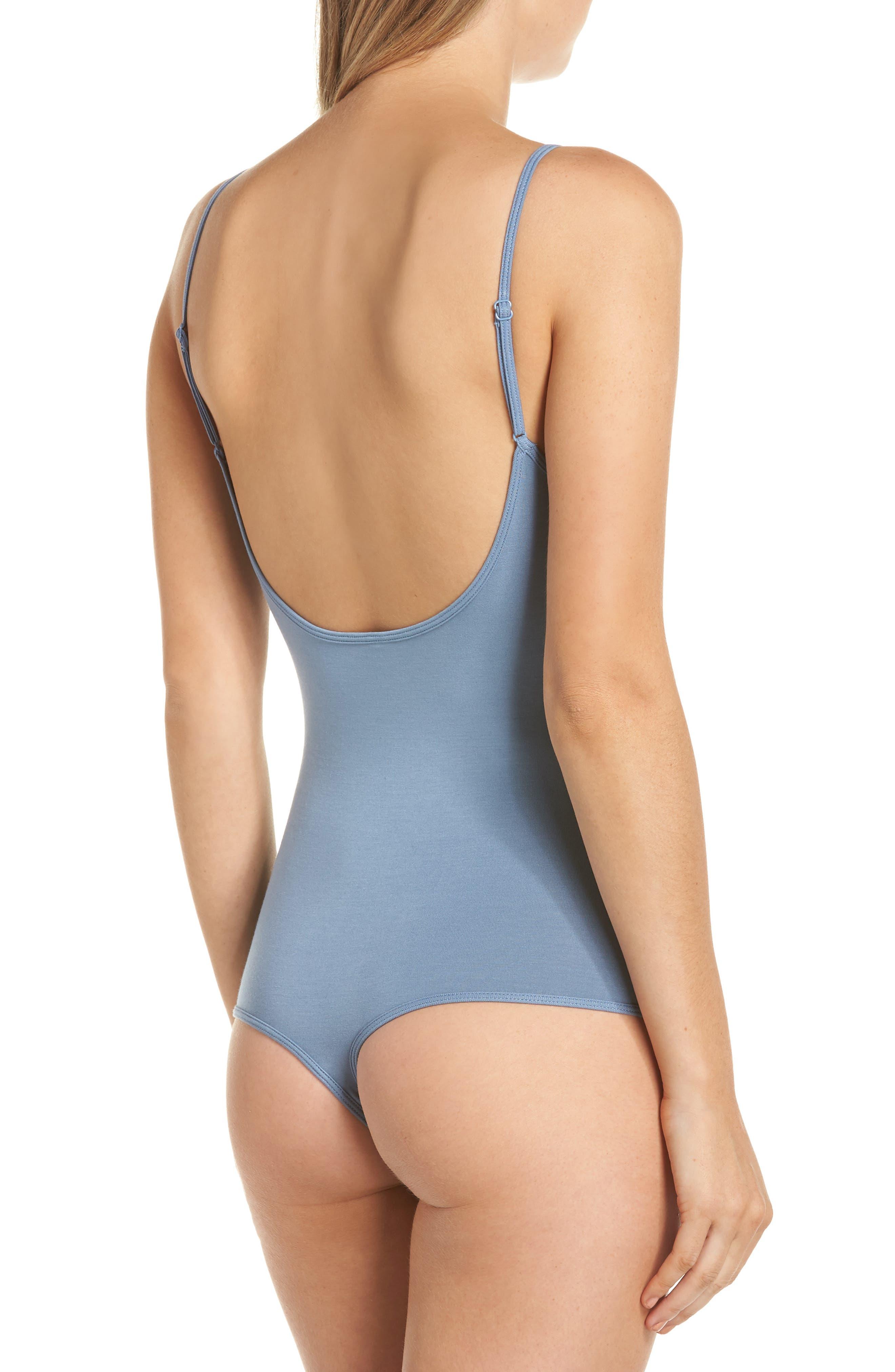 Scoop Back Thong Bodysuit,                             Alternate thumbnail 3, color,                             CARBON BLUE