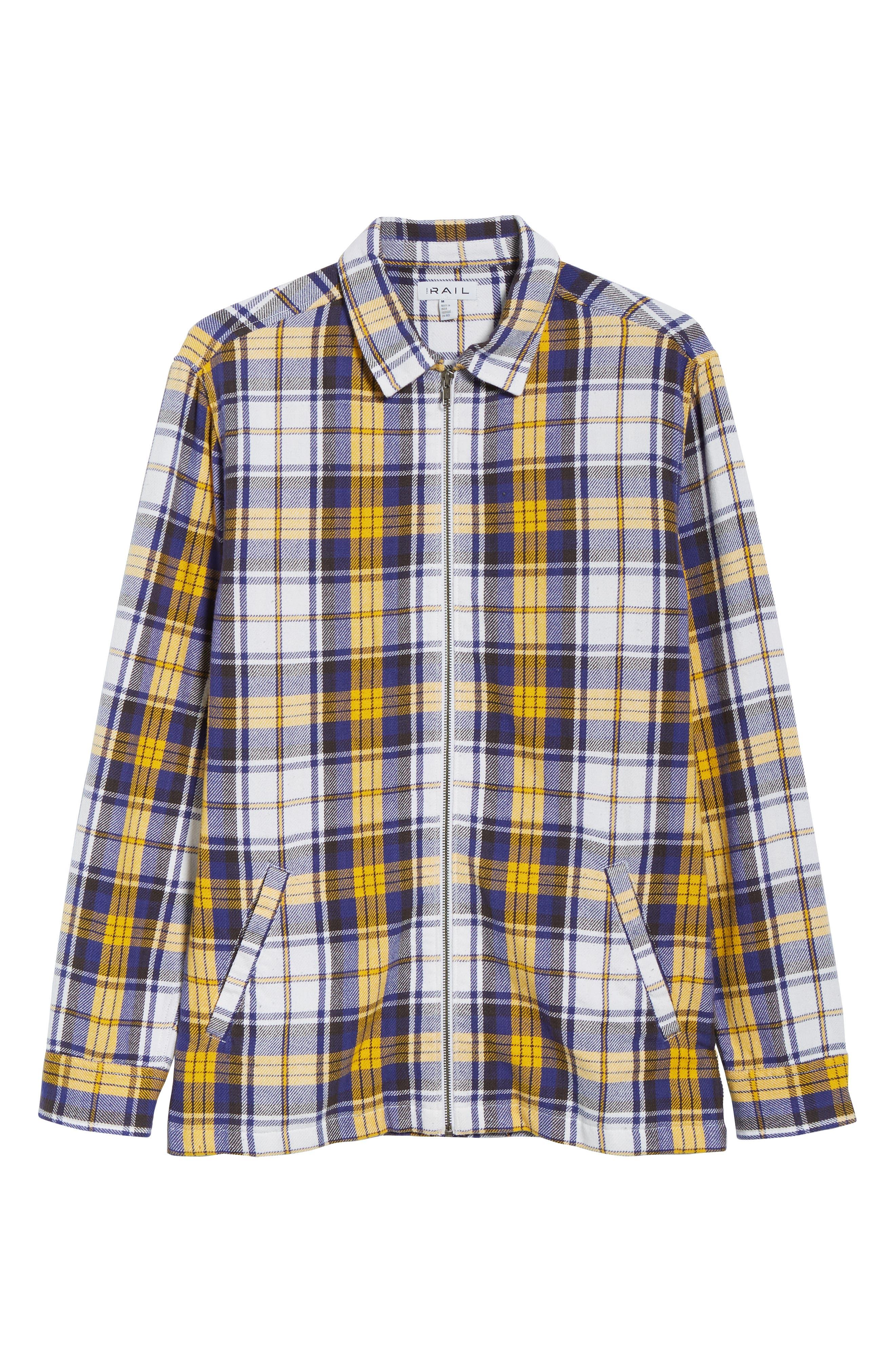Zip Front Flannel Shirt Jacket,                             Alternate thumbnail 6, color,                             100