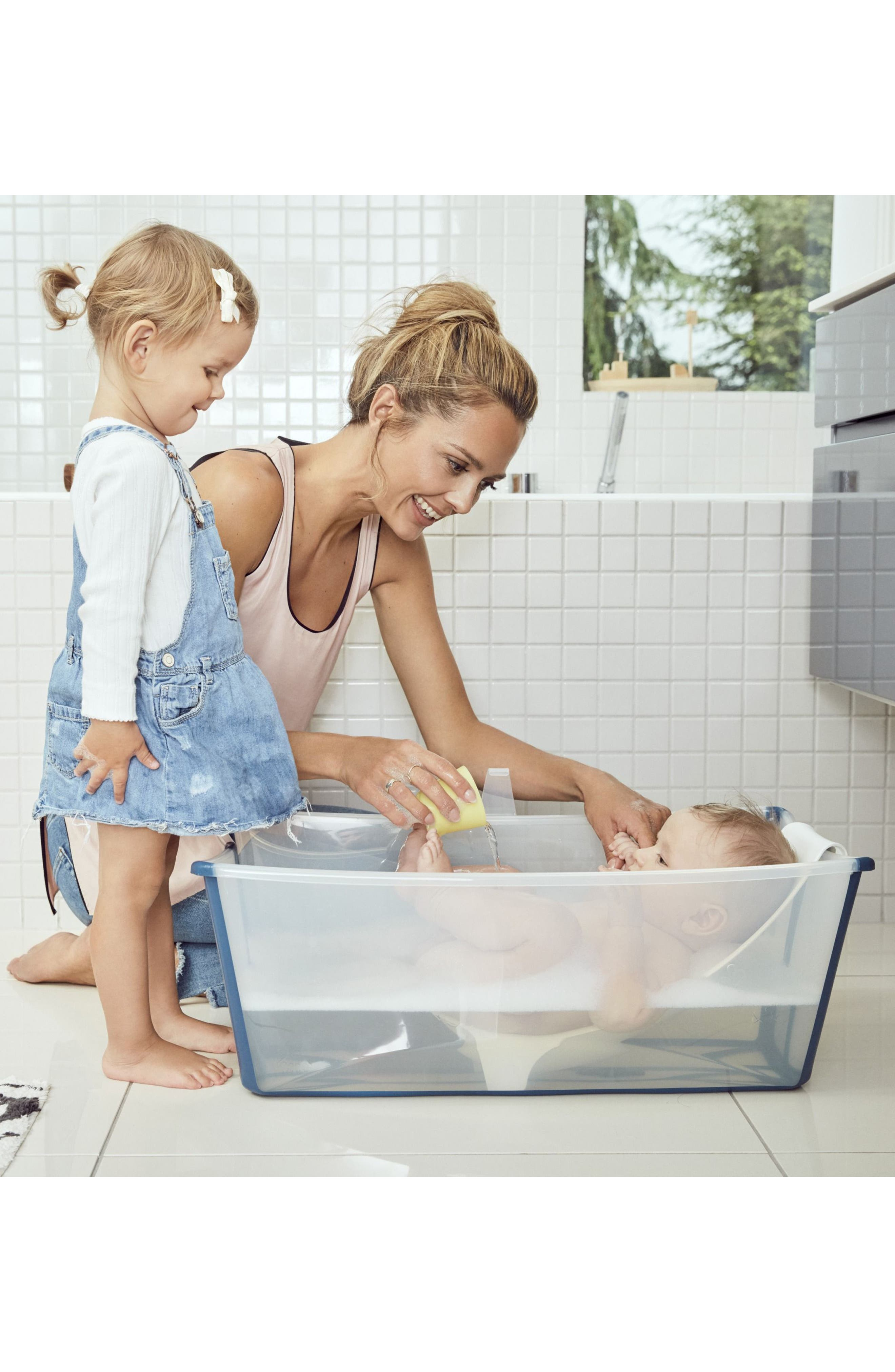 'Flexi Bath<sup>®</sup>' Foldable Baby Bathtub,                             Alternate thumbnail 7, color,                             TRANSPARENT BLUE