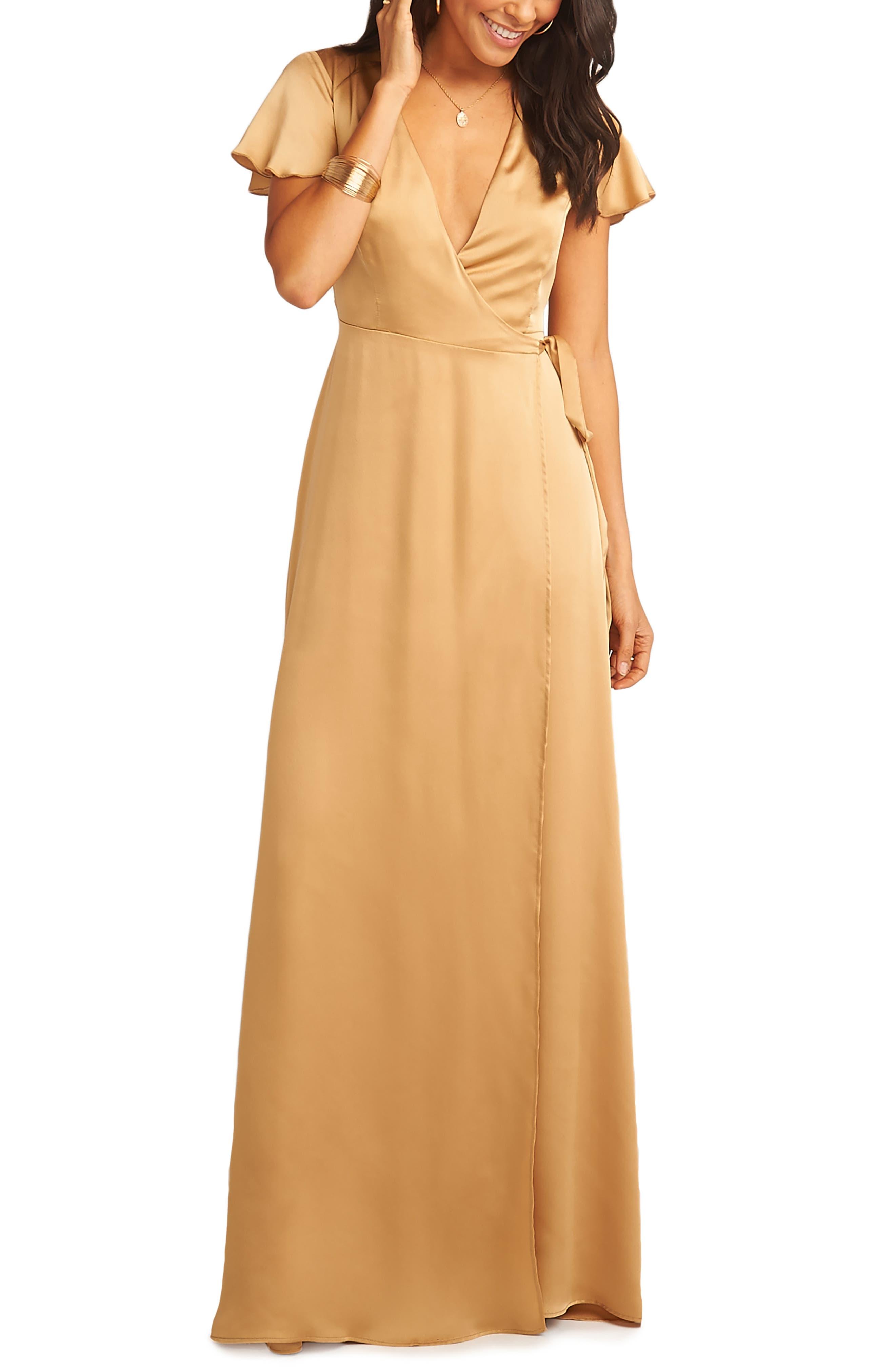 Show Me Your Mumu Noelle Satin Wrap Evening Dress, Yellow