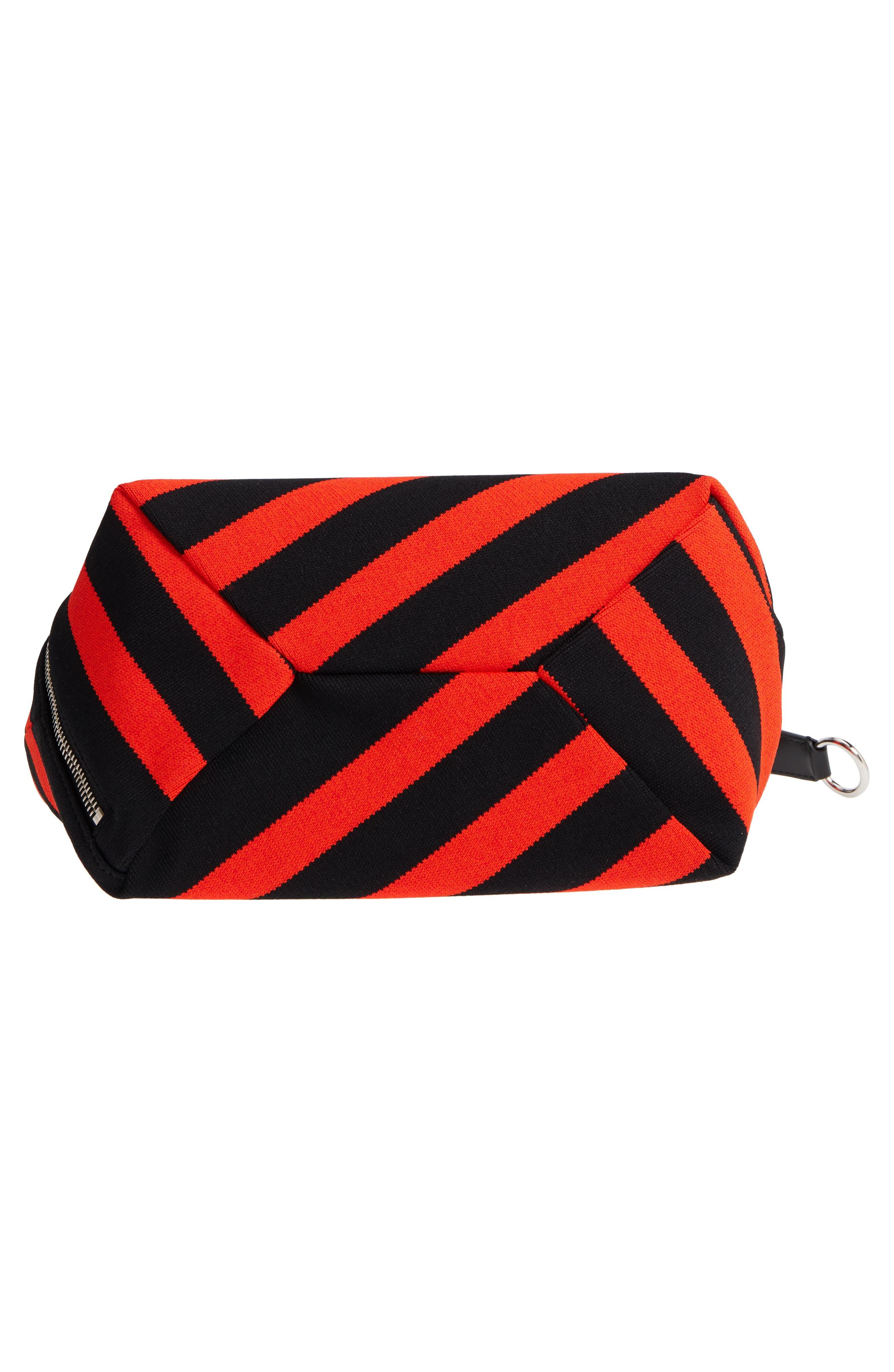 Medium Asymmetric Zip Stripe Textile Hobo,                             Alternate thumbnail 6, color,                             BLACK/ HOT CORAL