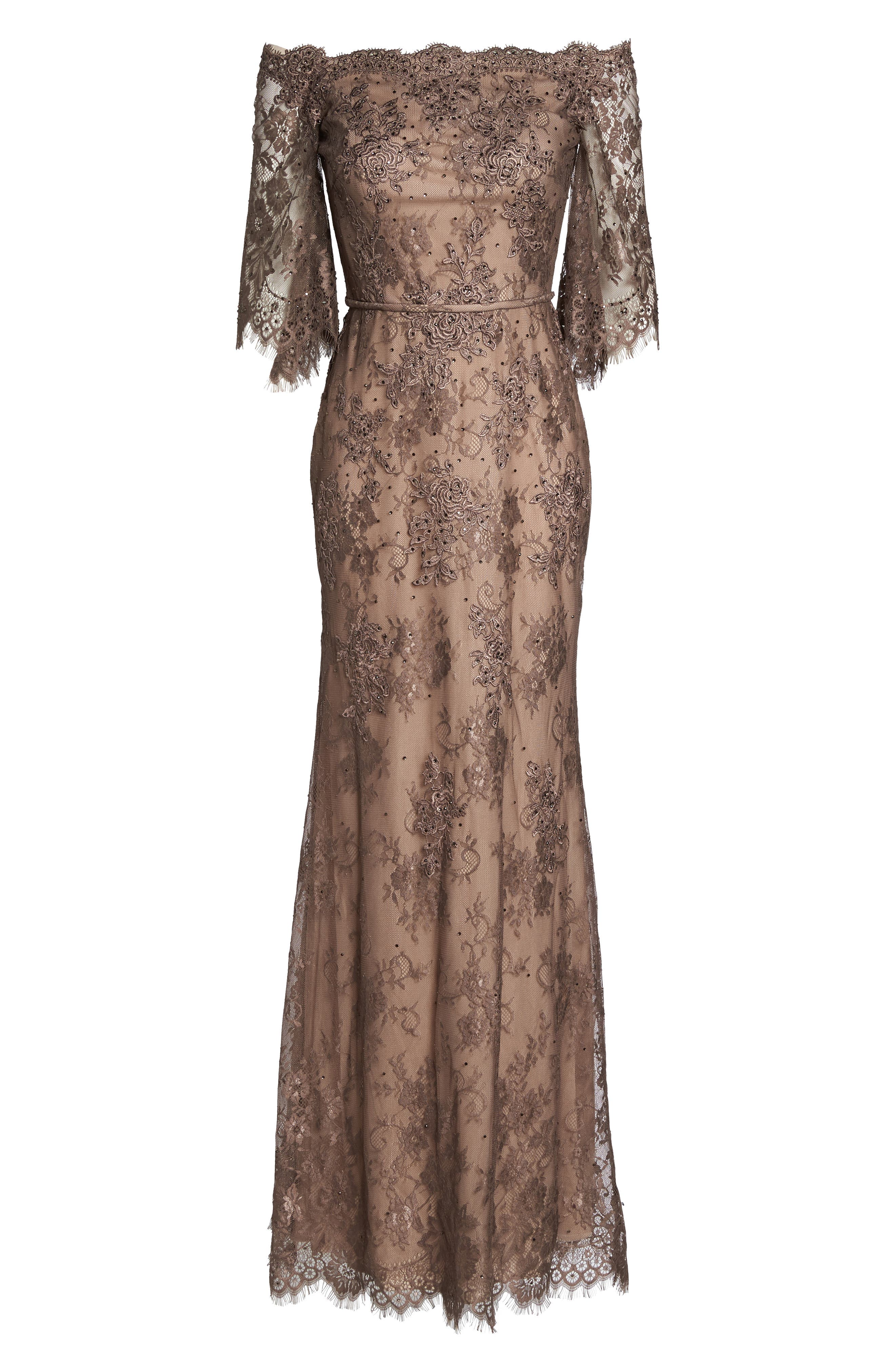 Off the Shoulder Lace Gown,                             Alternate thumbnail 6, color,                             COCOA