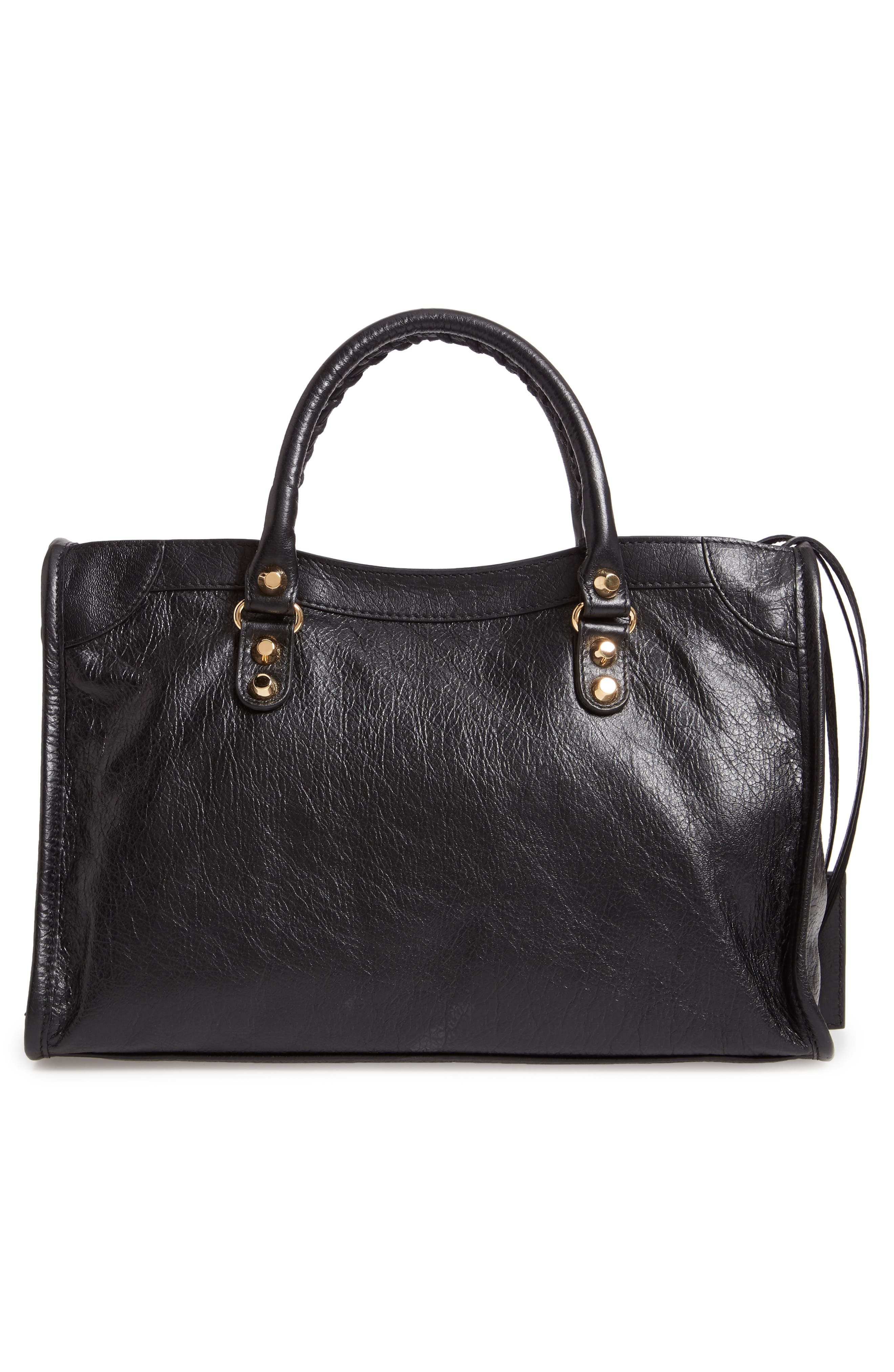 Small Arena City Lambskin Leather Tote,                             Alternate thumbnail 4, color,                             NOIR