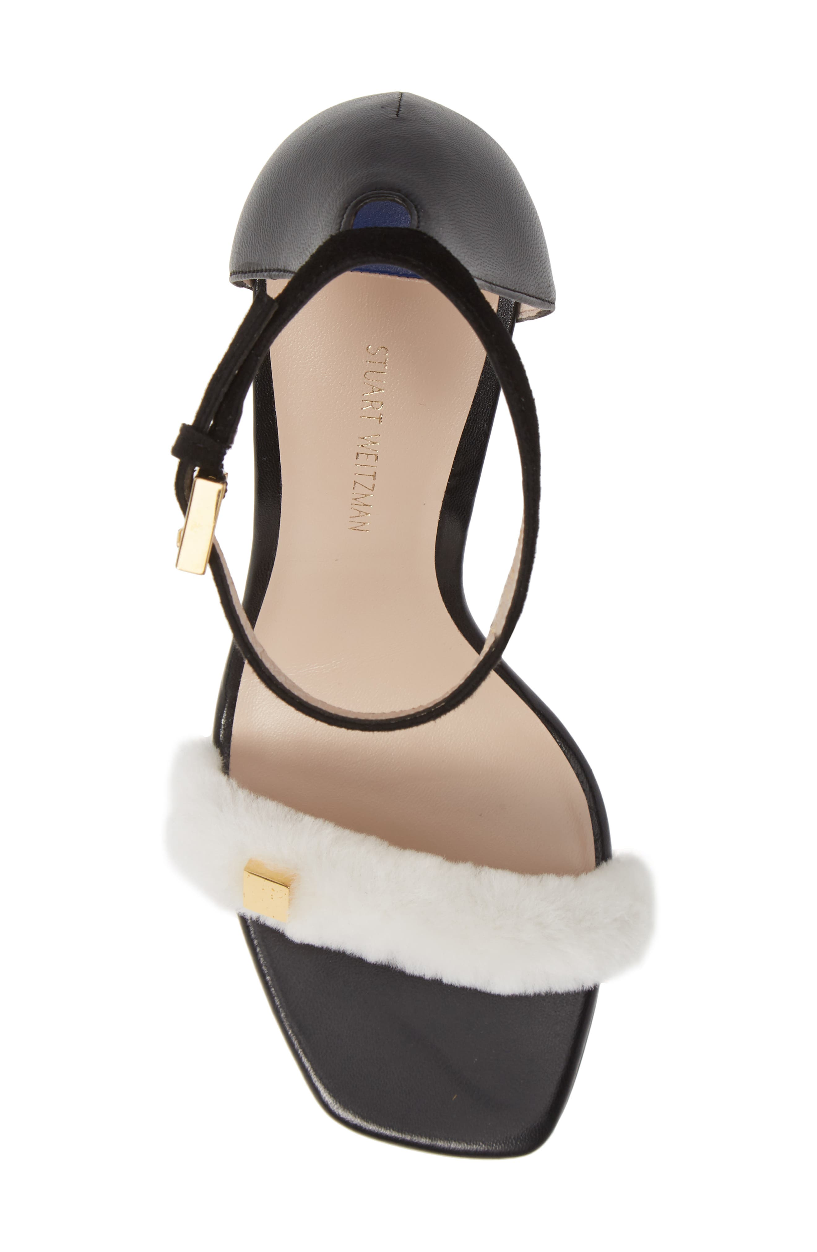 Stormie Genuine Shearling Trim Sandal,                             Alternate thumbnail 5, color,                             BLACK