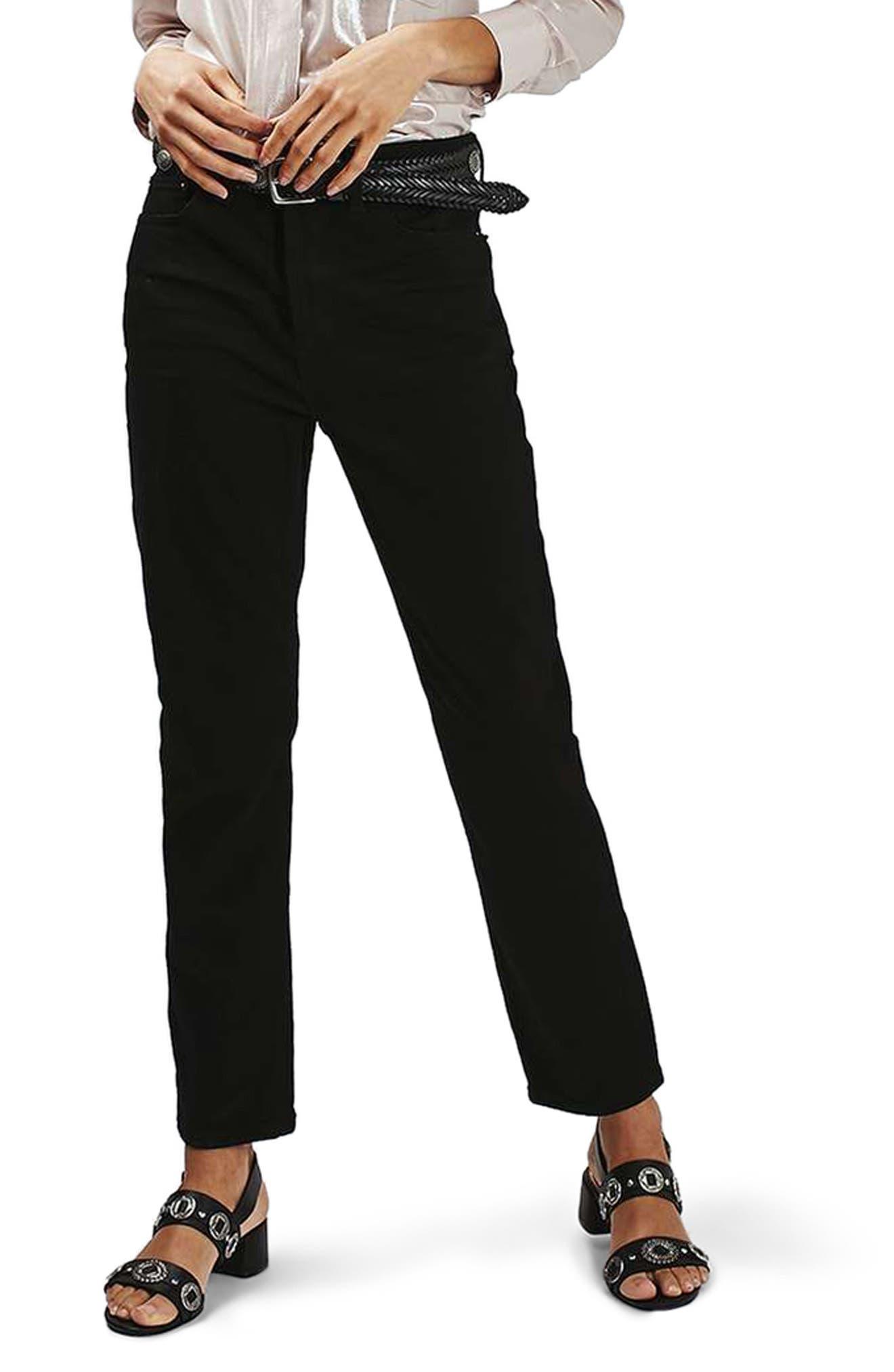 High Rise Straight Leg Crop Jeans,                             Alternate thumbnail 3, color,                             001