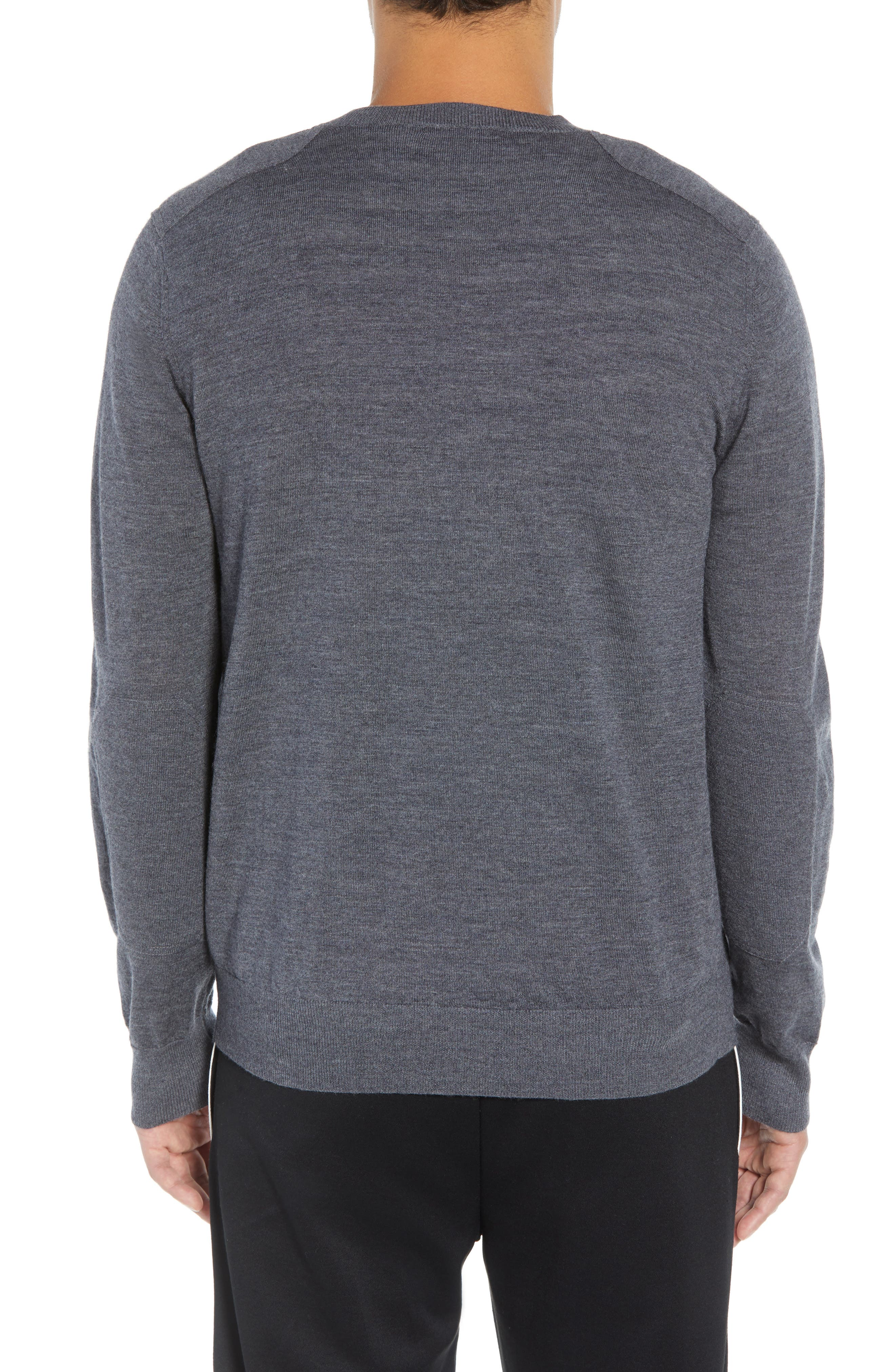 Regular Fit Elbow Patch Merino Wool Sweater,                             Alternate thumbnail 2, color,                             020