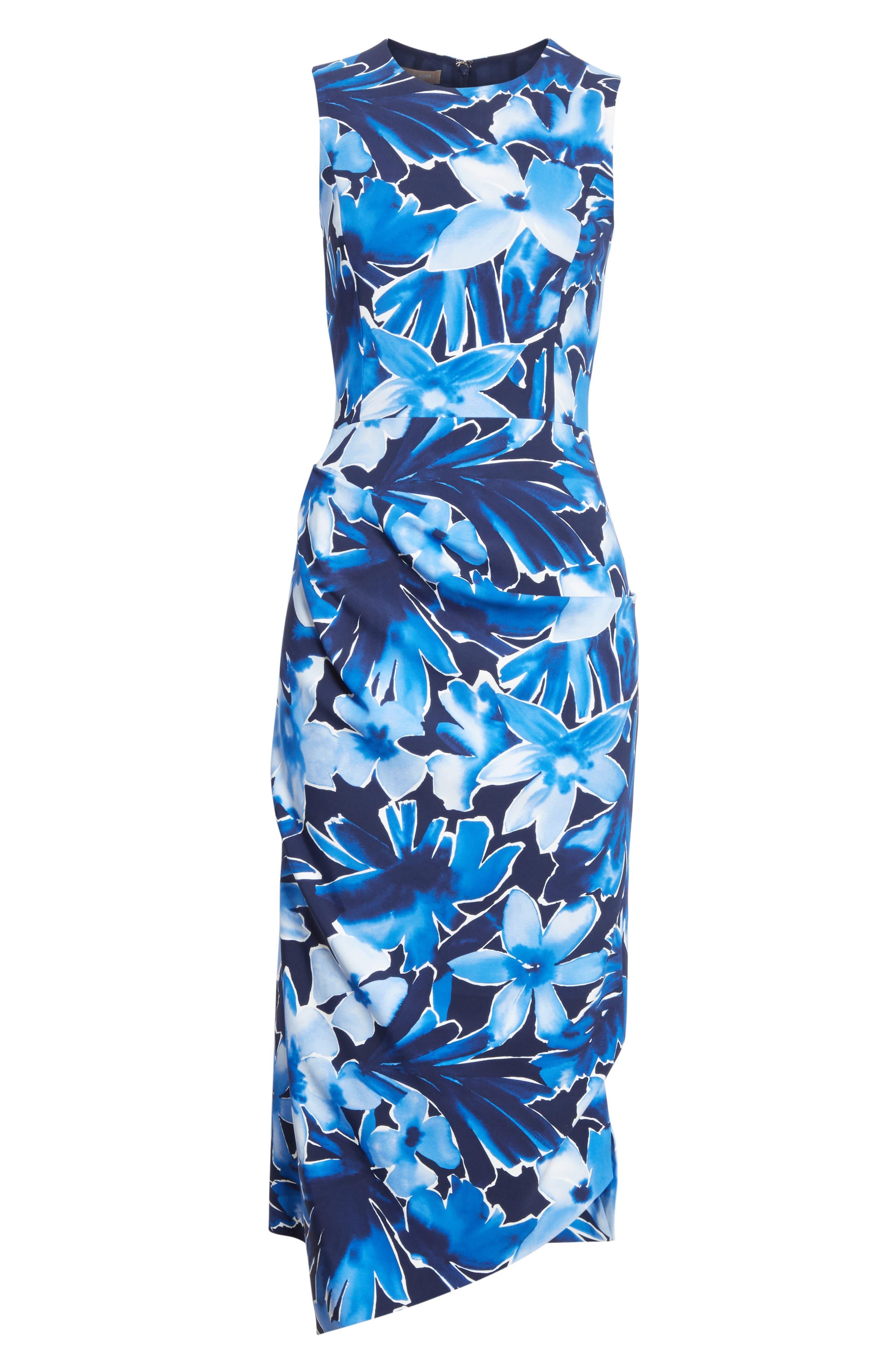 Draped Floral Print Sheath Dress,                             Alternate thumbnail 6, color,                             478