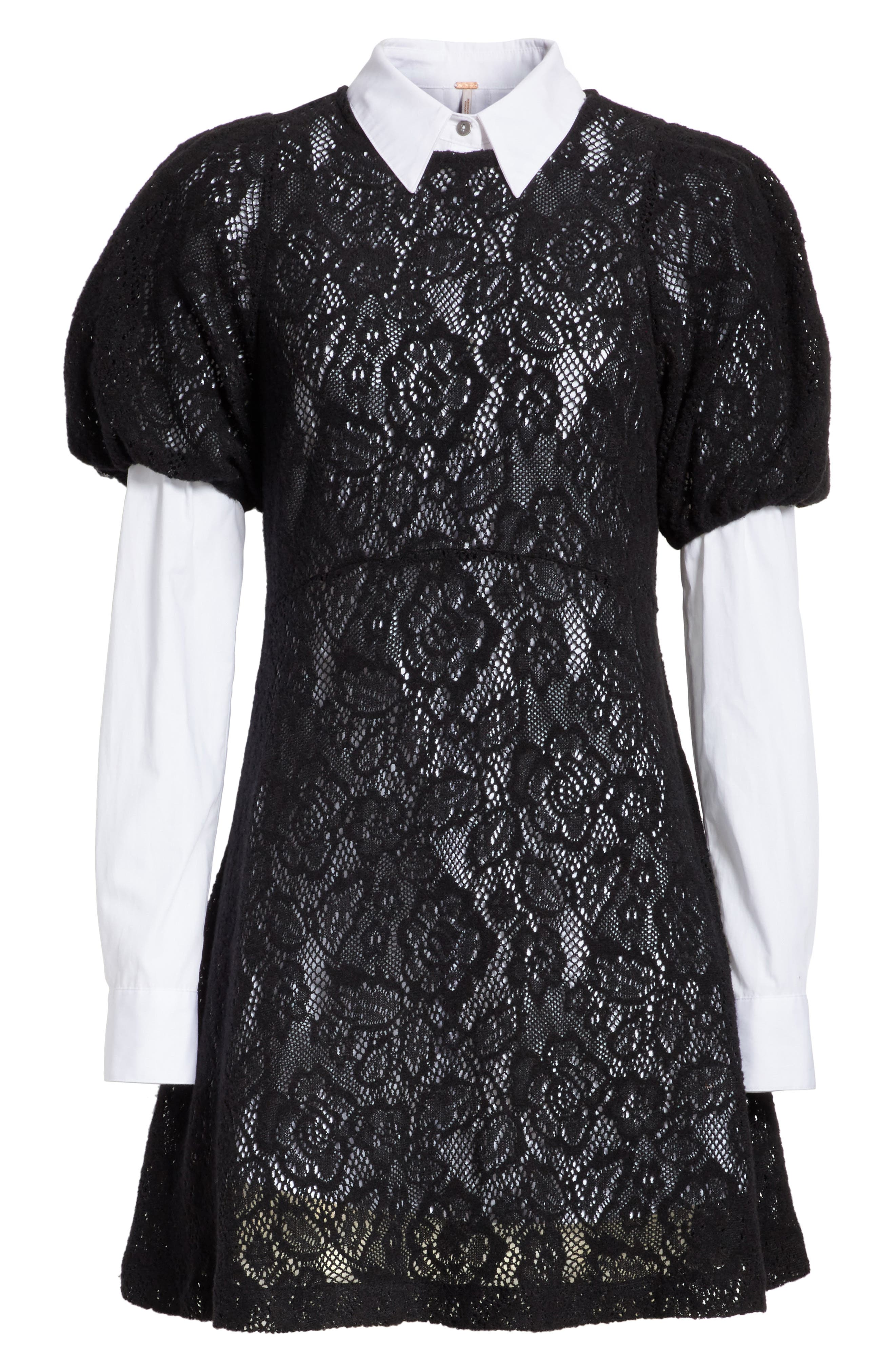 Pretty Princess Dress Shirtdress with Lace Overlay,                             Alternate thumbnail 7, color,                             019