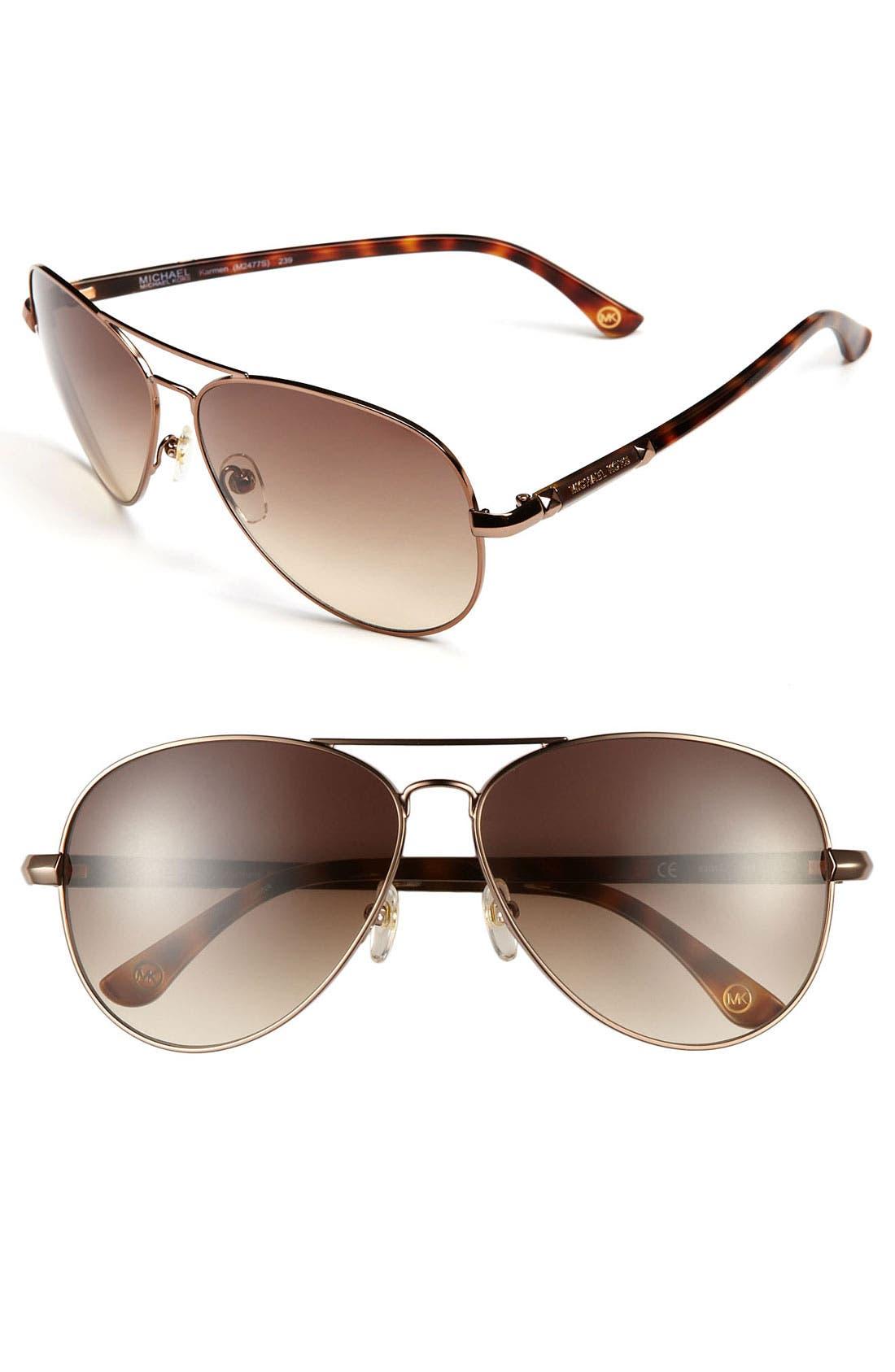 62mm Metal Aviator Sunglasses,                             Main thumbnail 3, color,
