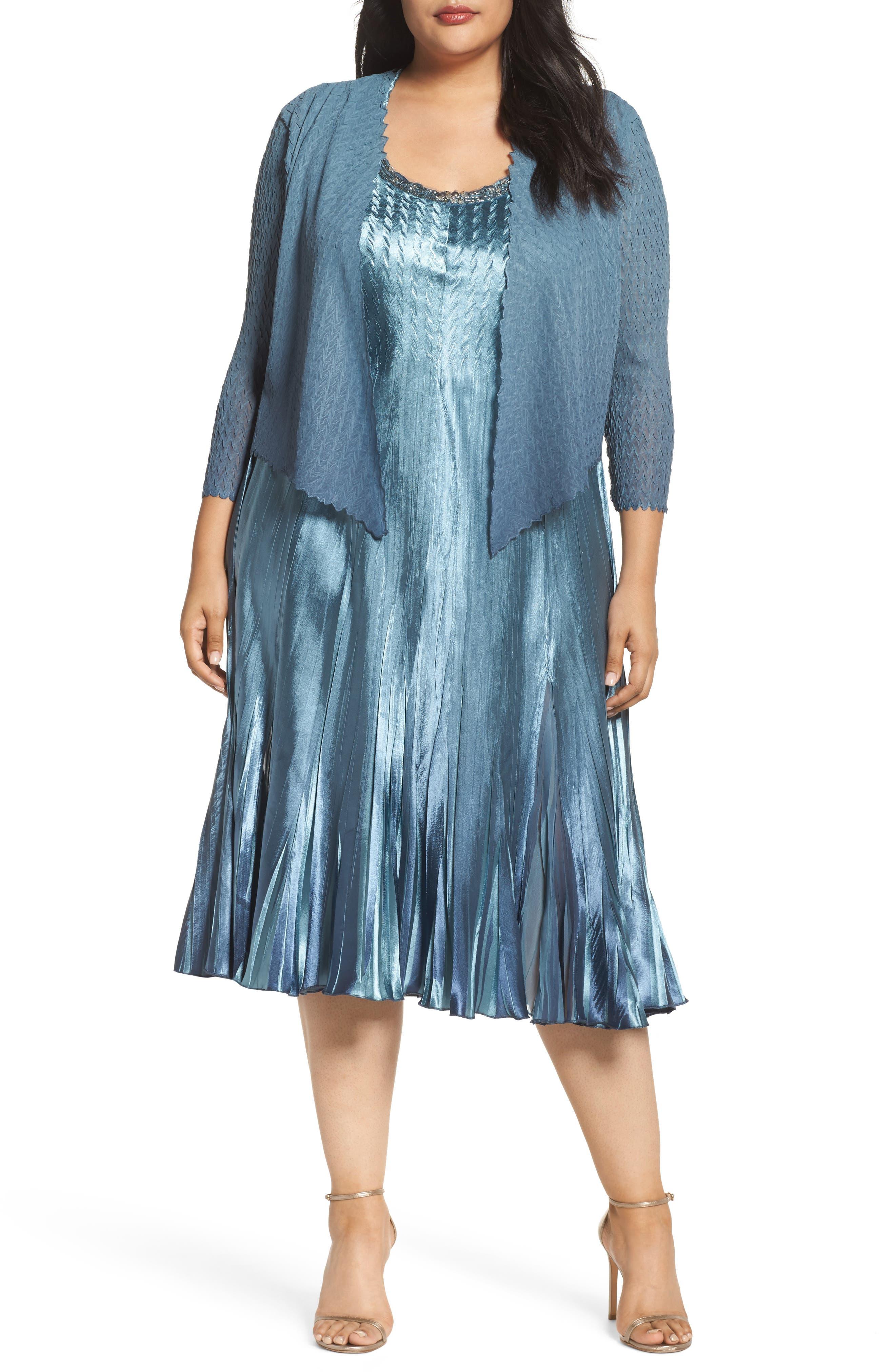Embellished Charmeuse & Chiffon Dress with Jacket,                         Main,                         color, 460
