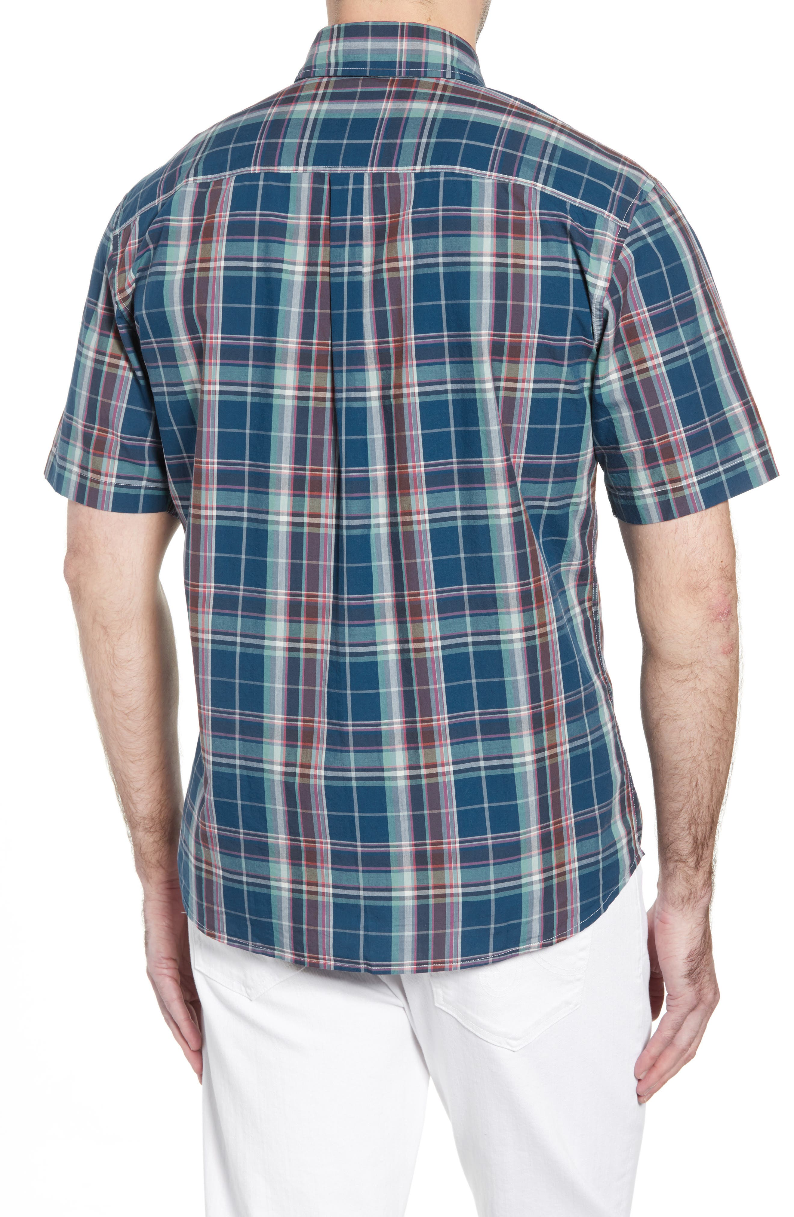 Exum Classic Fit Plaid Sport Shirt,                             Alternate thumbnail 3, color,                             LAKE