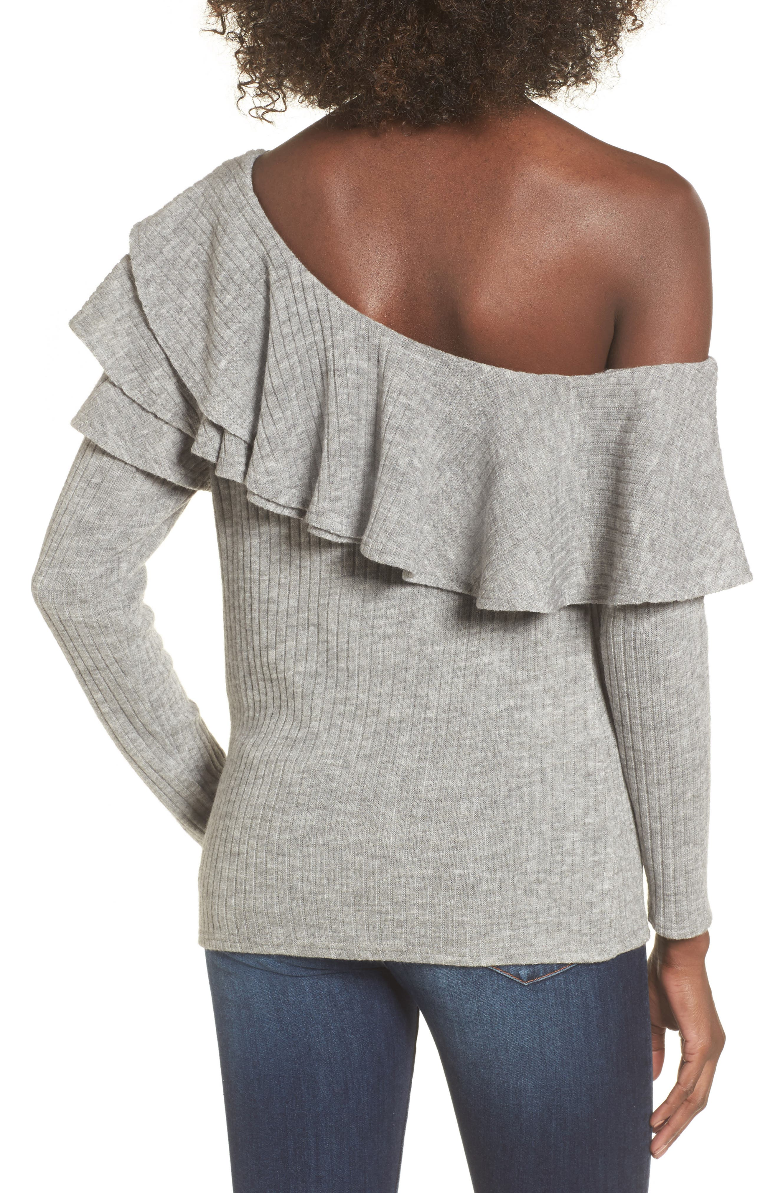 Ruffle One-Shoulder Sweater,                             Alternate thumbnail 2, color,                             020
