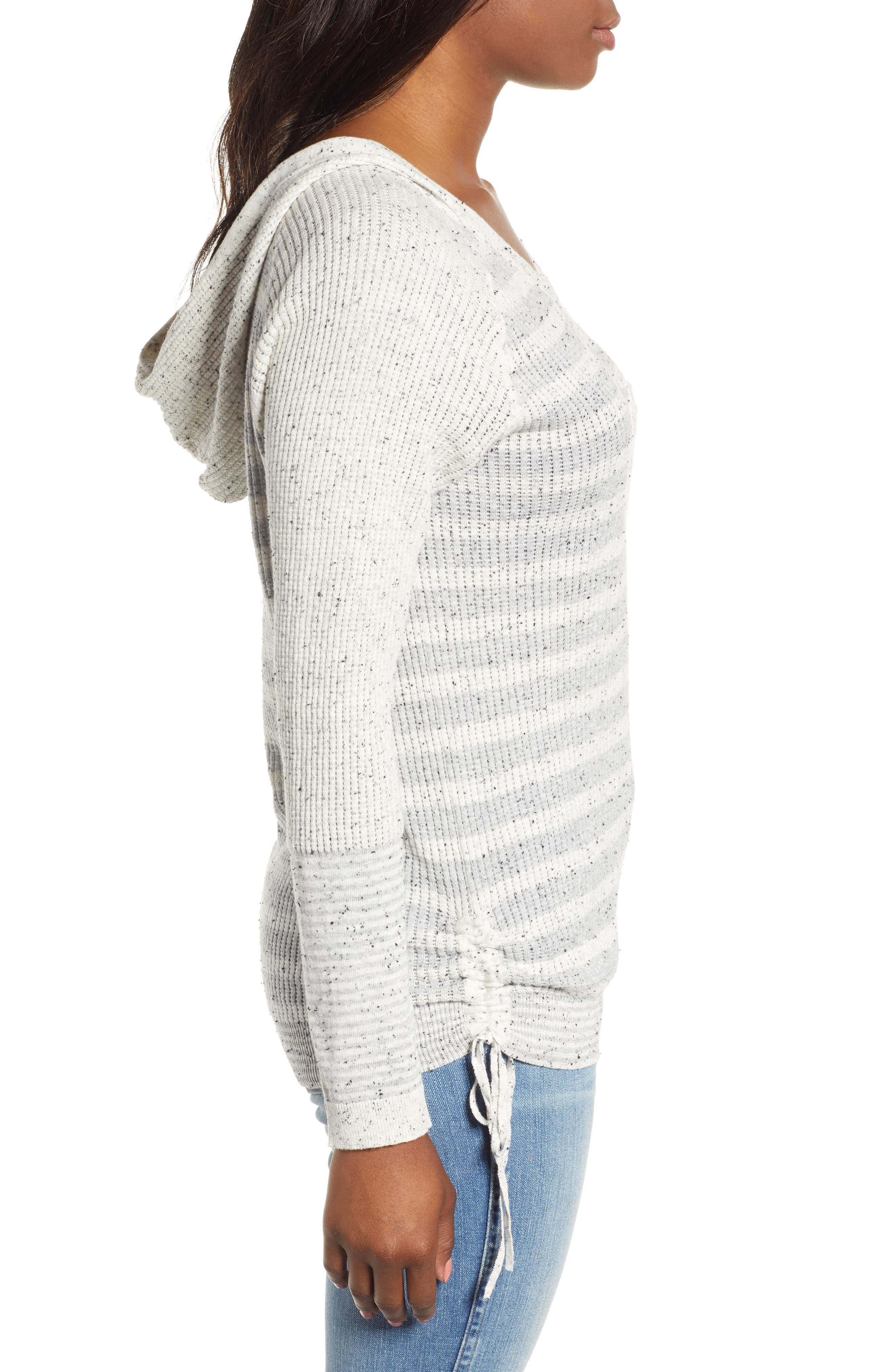 Waffle Knit Stripe Hooded Top,                             Alternate thumbnail 3, color,                             HEATHER GREY/ OFF WHITE