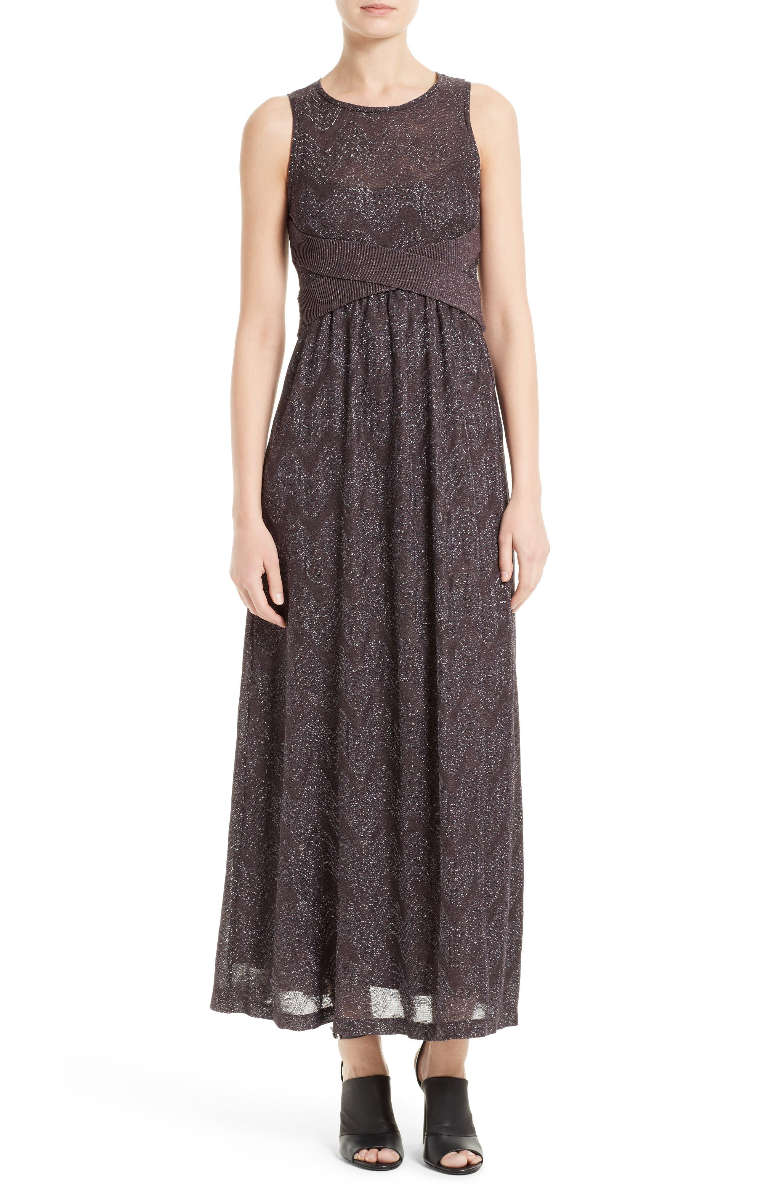 Metallic Maxi Dress,                             Main thumbnail 1, color,