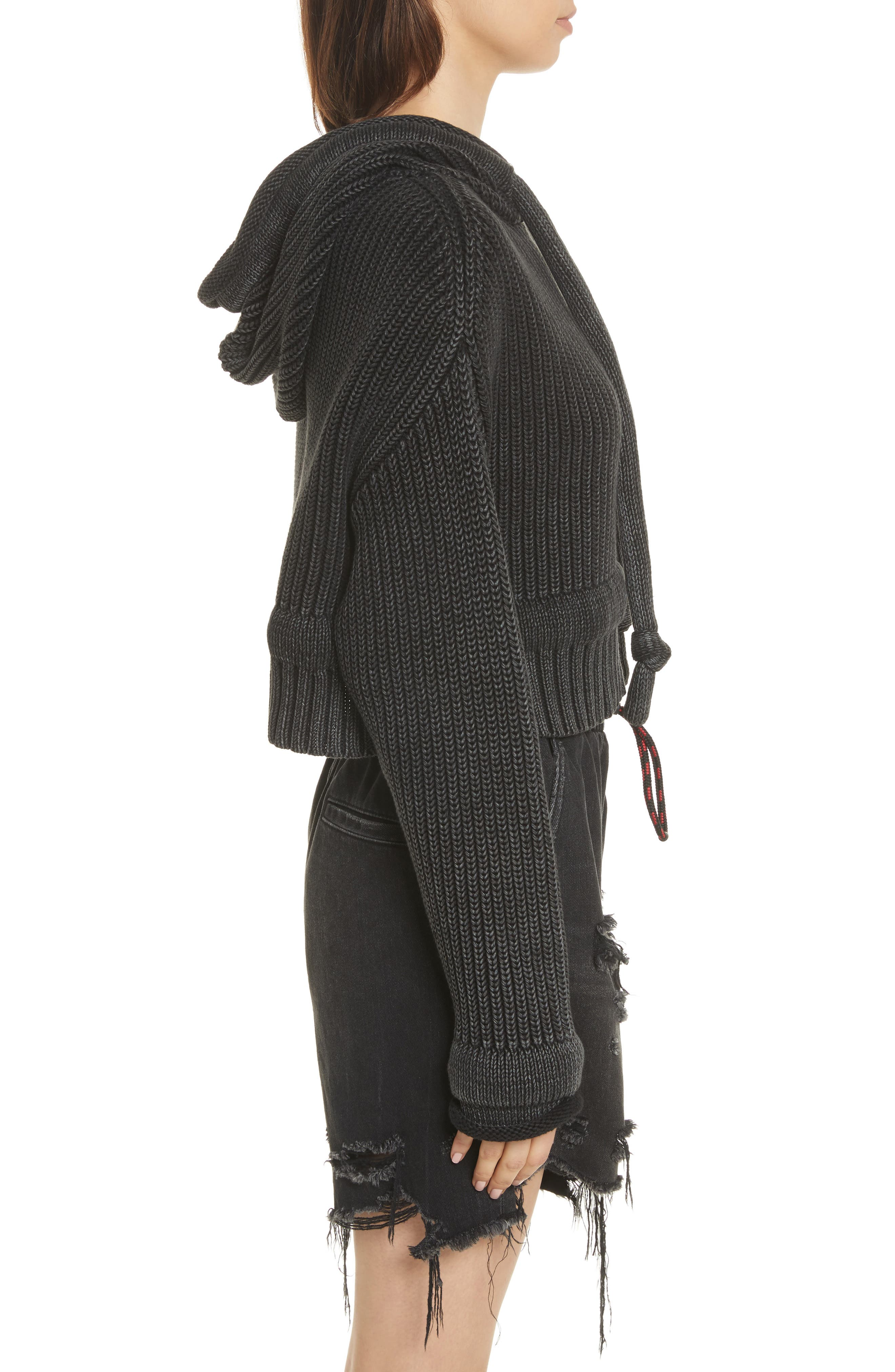 T by Alexander Wang Chunky Knit Hoodie,                             Alternate thumbnail 3, color,                             002