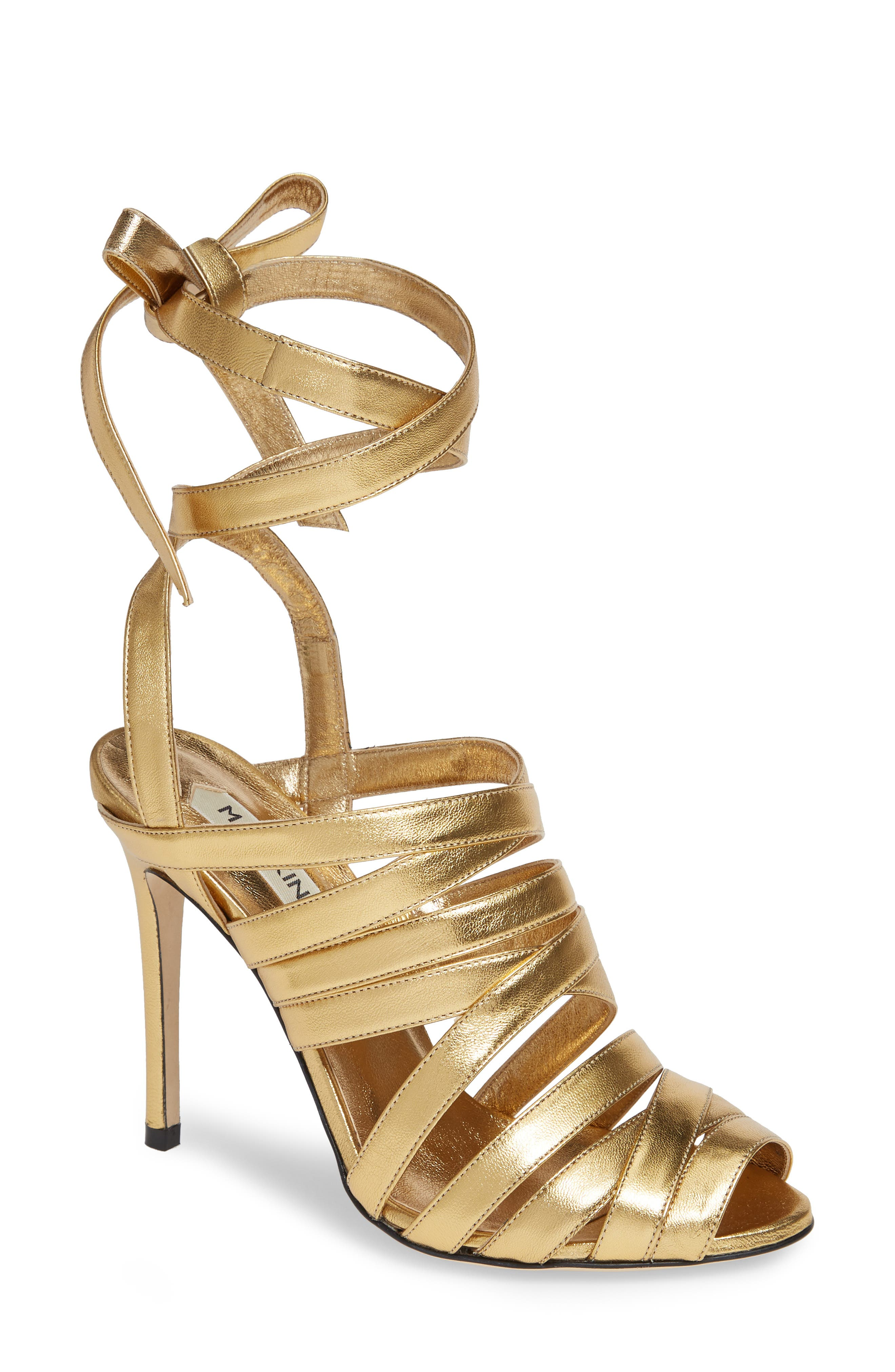 Nadege Strappy Pump,                         Main,                         color, GOLD LEATHER