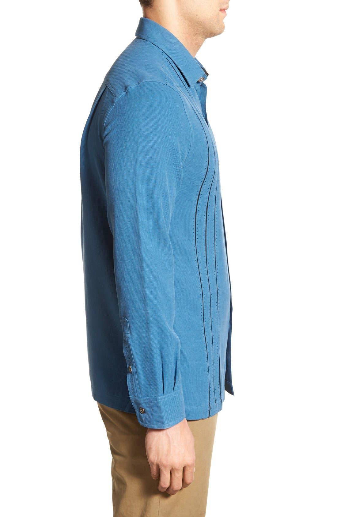 'Weber' Regular Fit Long Sleeve Silk & Cotton Sport Shirt,                             Alternate thumbnail 3, color,                             433