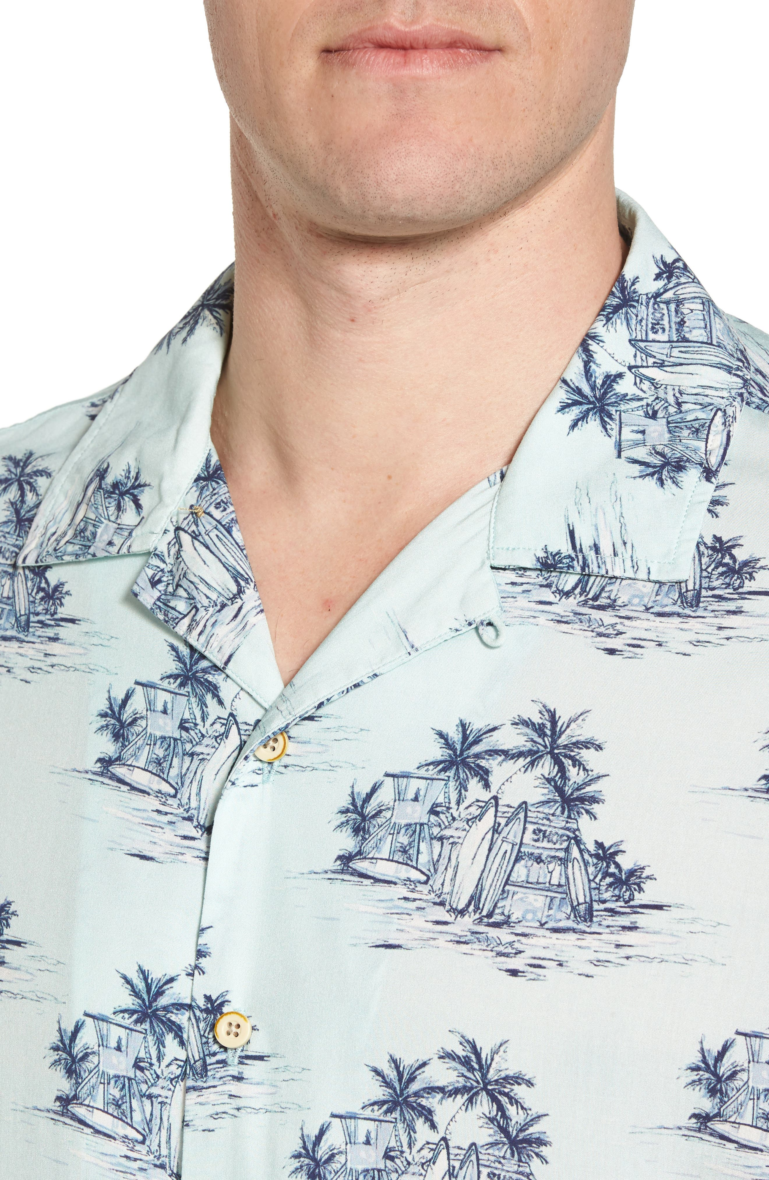 Tonal Hawaiian Print Camp Shirt,                             Alternate thumbnail 4, color,                             100