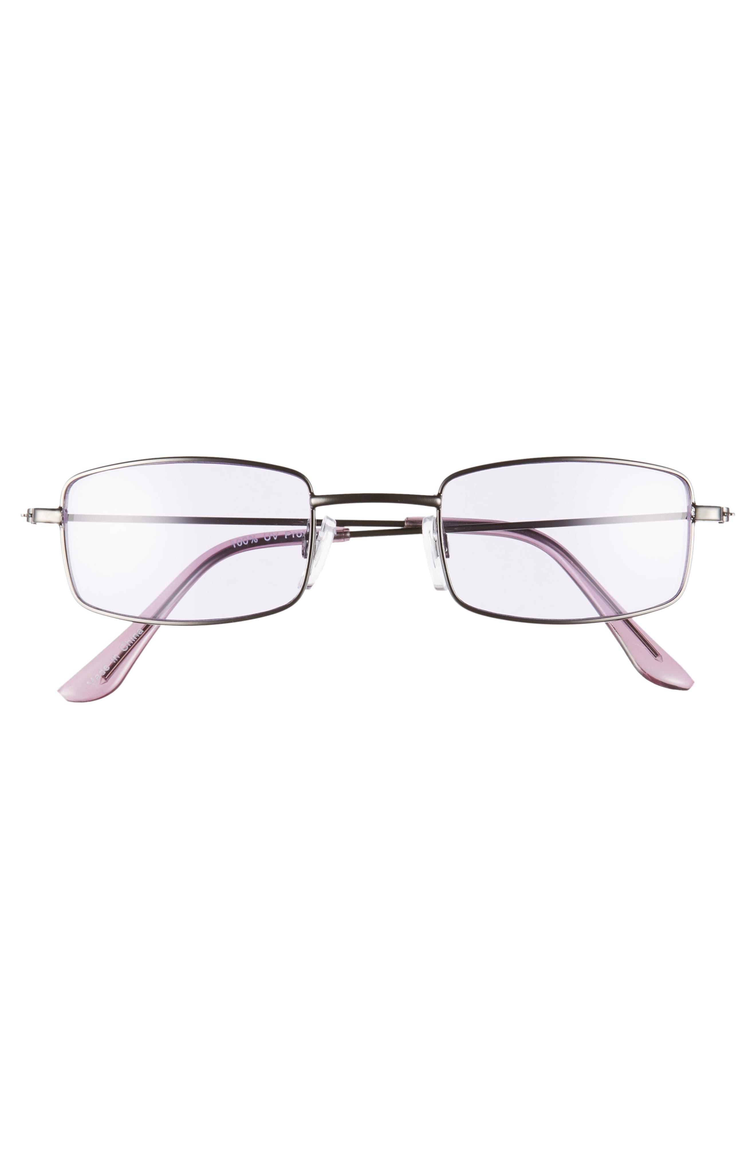 45mm Square Sunglasses,                             Alternate thumbnail 3, color,                             GUNMETAL/ PURPLE