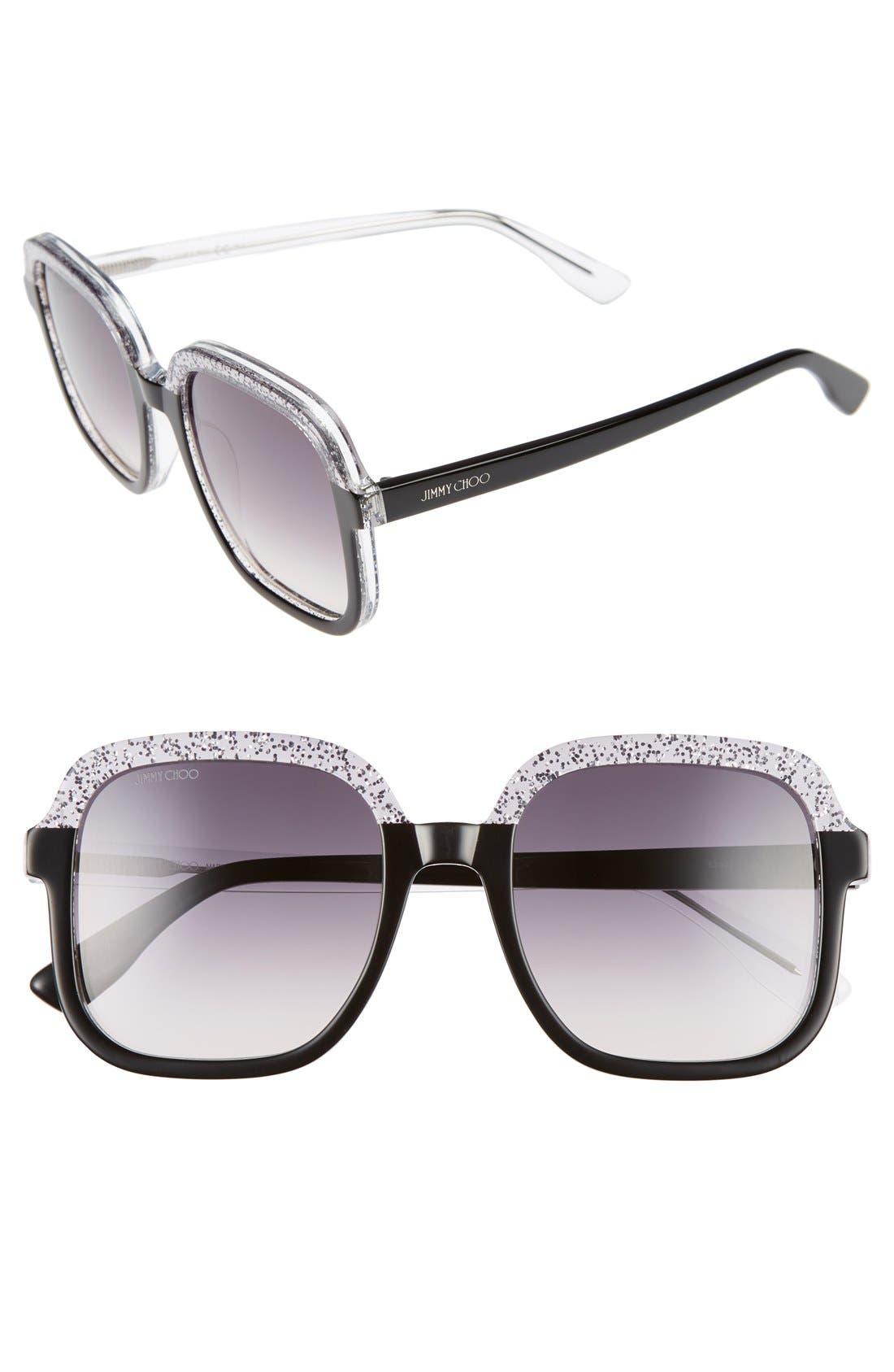 53mm Glitter Frame Sunglasses,                         Main,                         color, 001